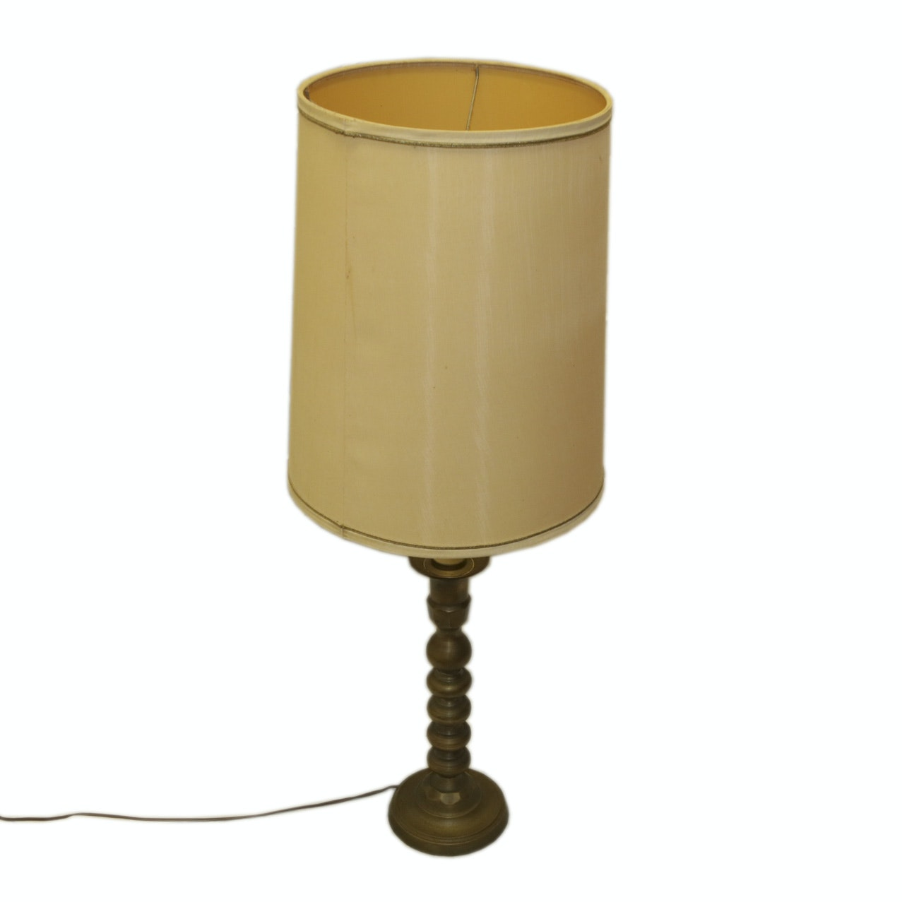 Mid Century Brass Table Lamp with Shade