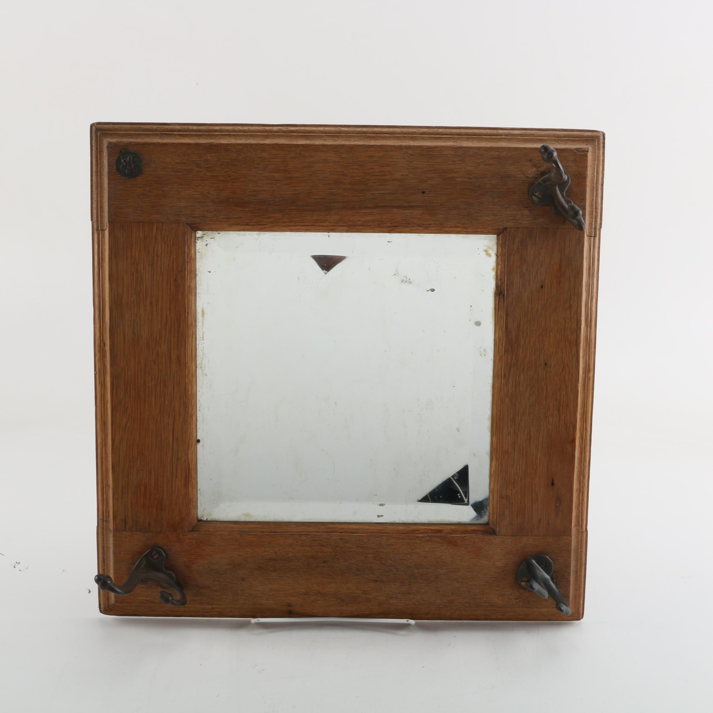 Wood Framed Wall Mirror with Metal Hangers