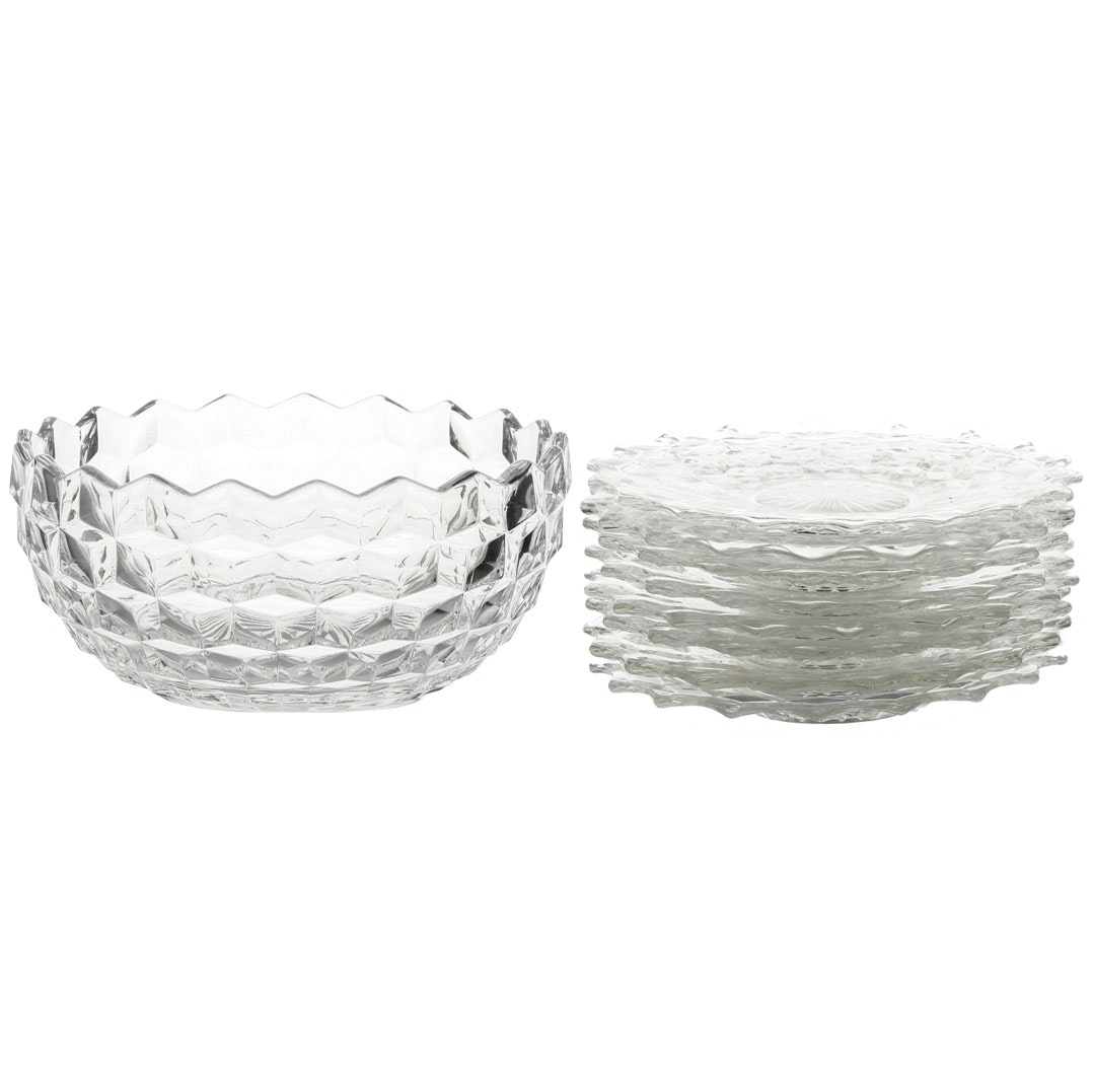 """Fostoria """"American"""" Fruit Bowl and Cocktail Plates"""