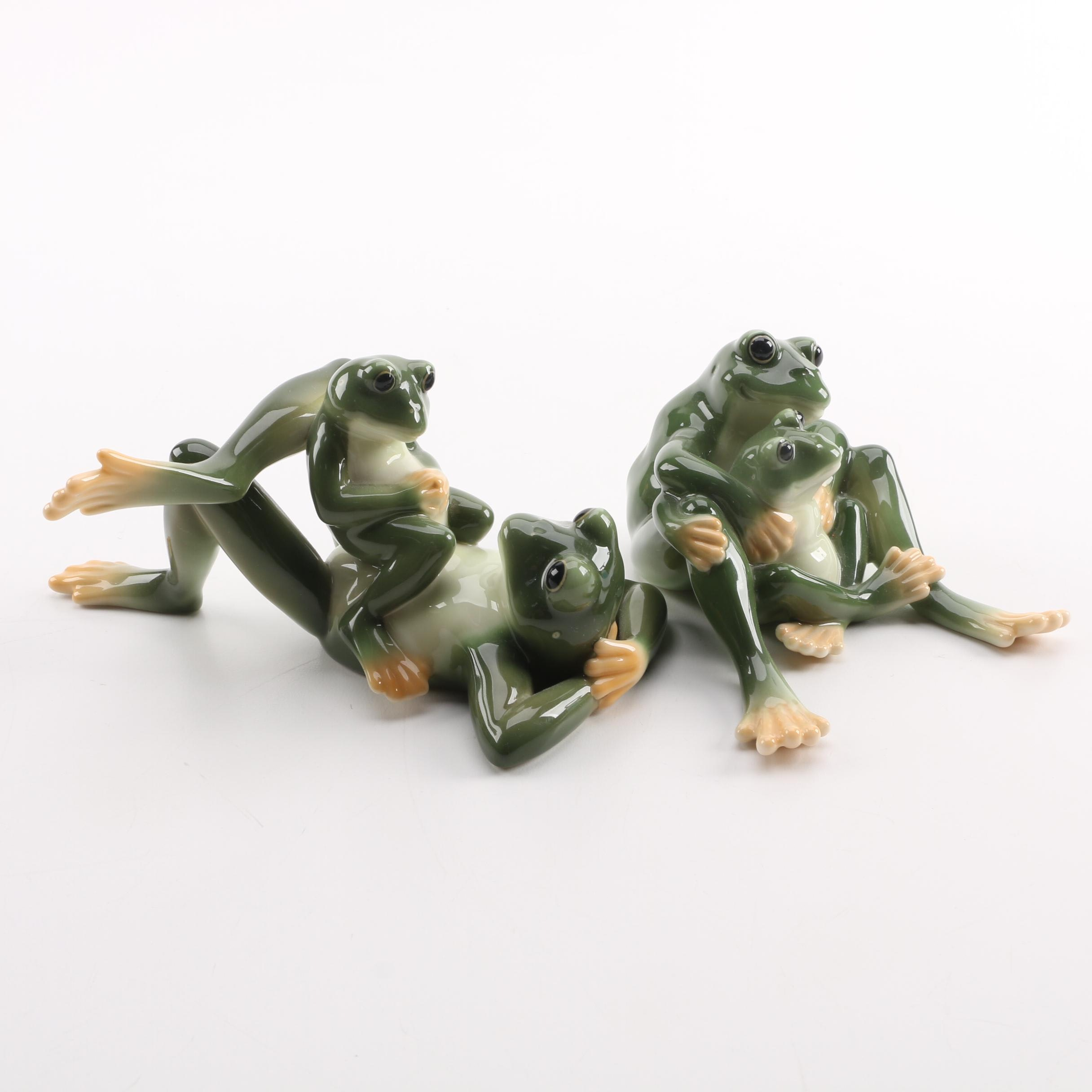 Franz Porcelain Frog Family Figurines