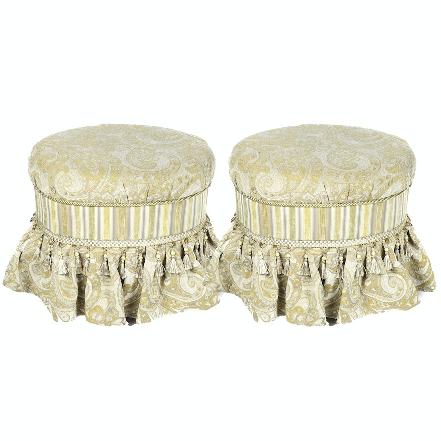 Remarkable Pair Of Vanity Ottomans From The Bombay Company Gmtry Best Dining Table And Chair Ideas Images Gmtryco
