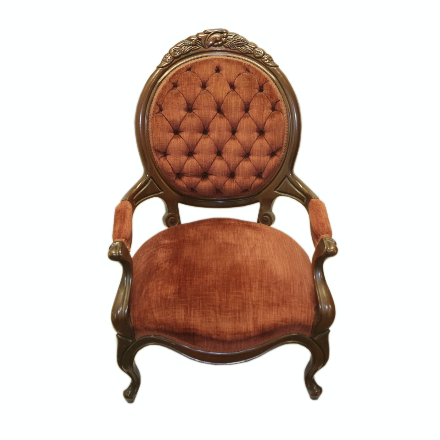 Vintage Victorian Style Upholstered Armchair