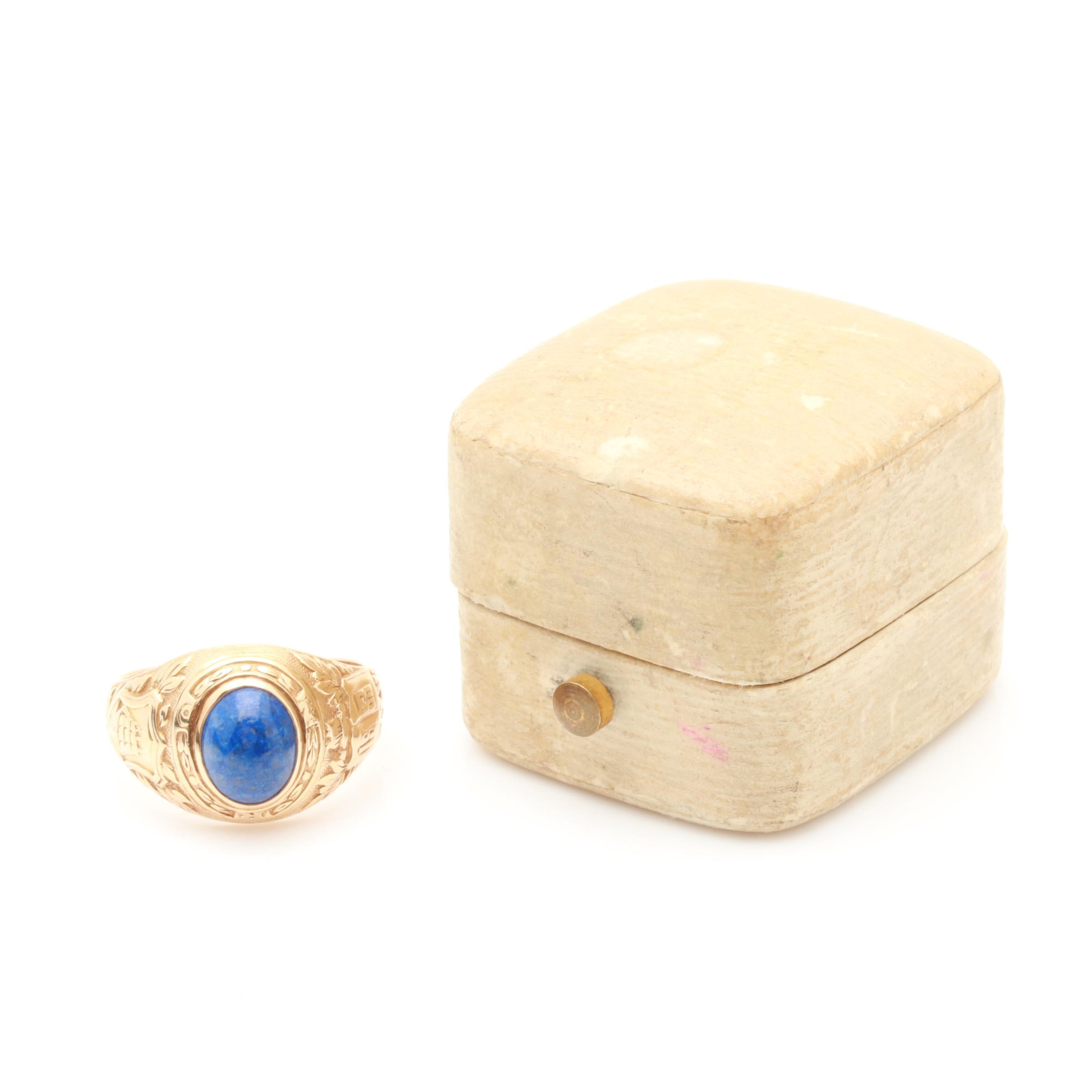 Vintage Tiffany & Co. 14K Yellow Gold Lapis Lazuli Class Ring