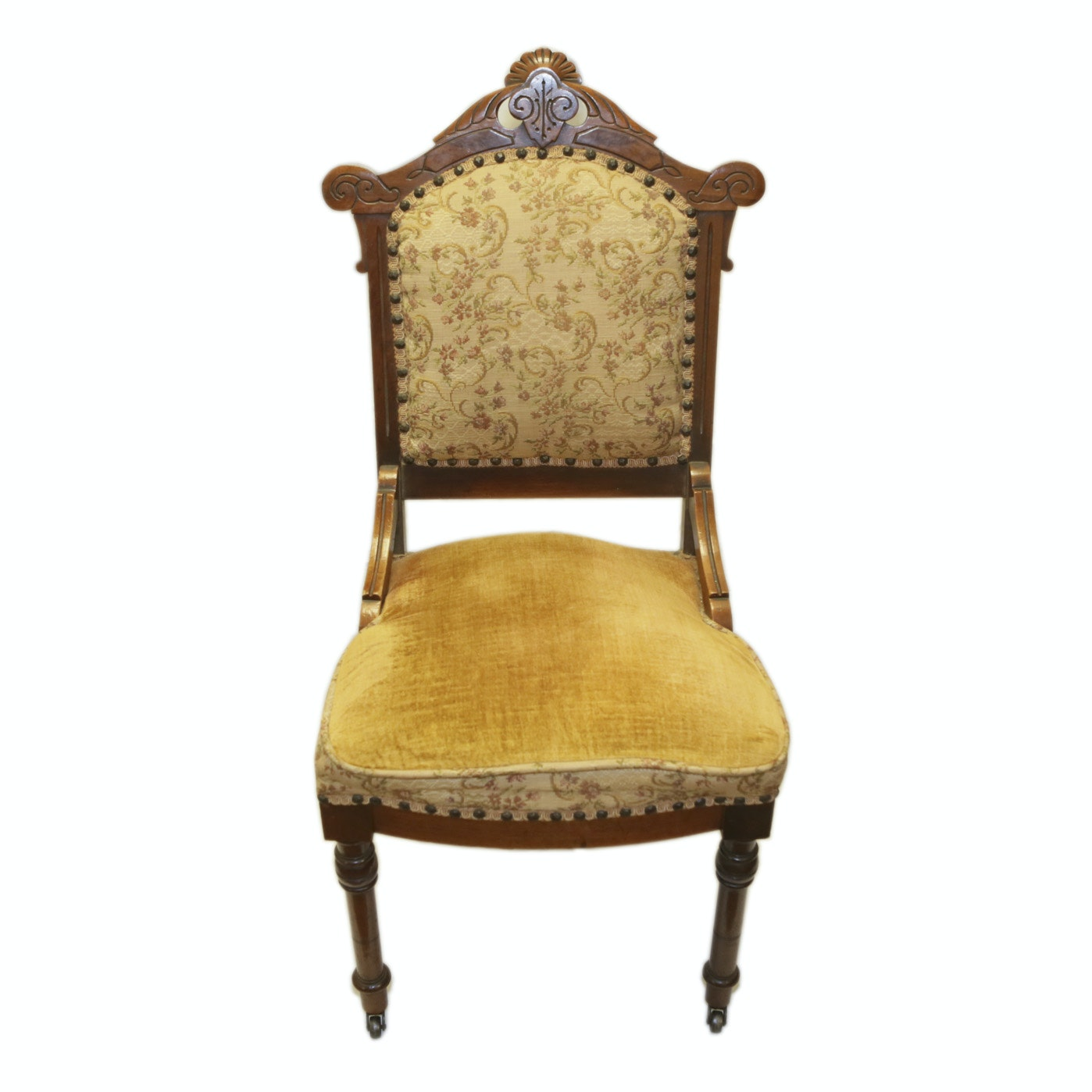 Eastlake Side Chair with Gold Upholstery