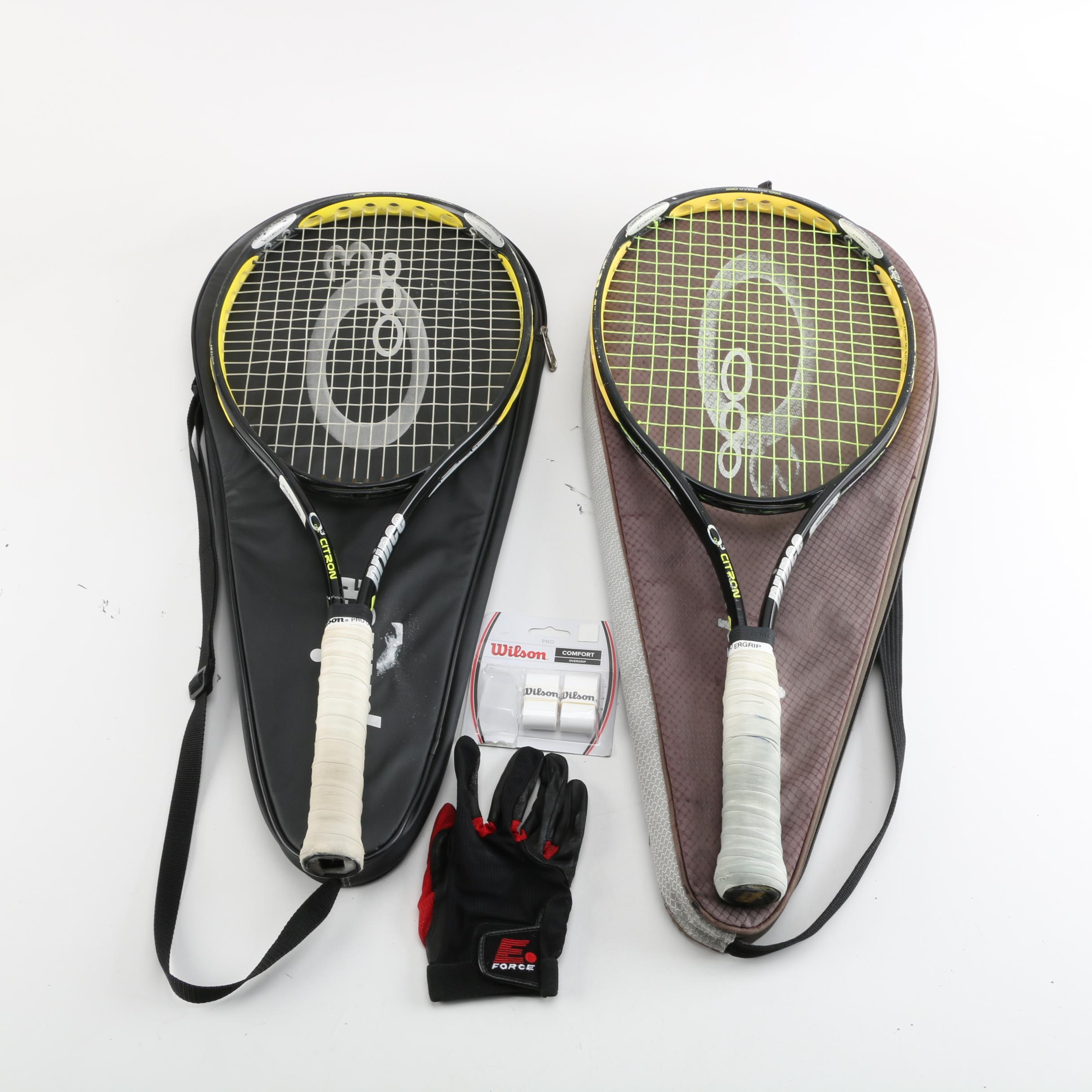Prince O3 Citron Tennis Rackets with Covers, Wilson Grips, and E-Force Glove