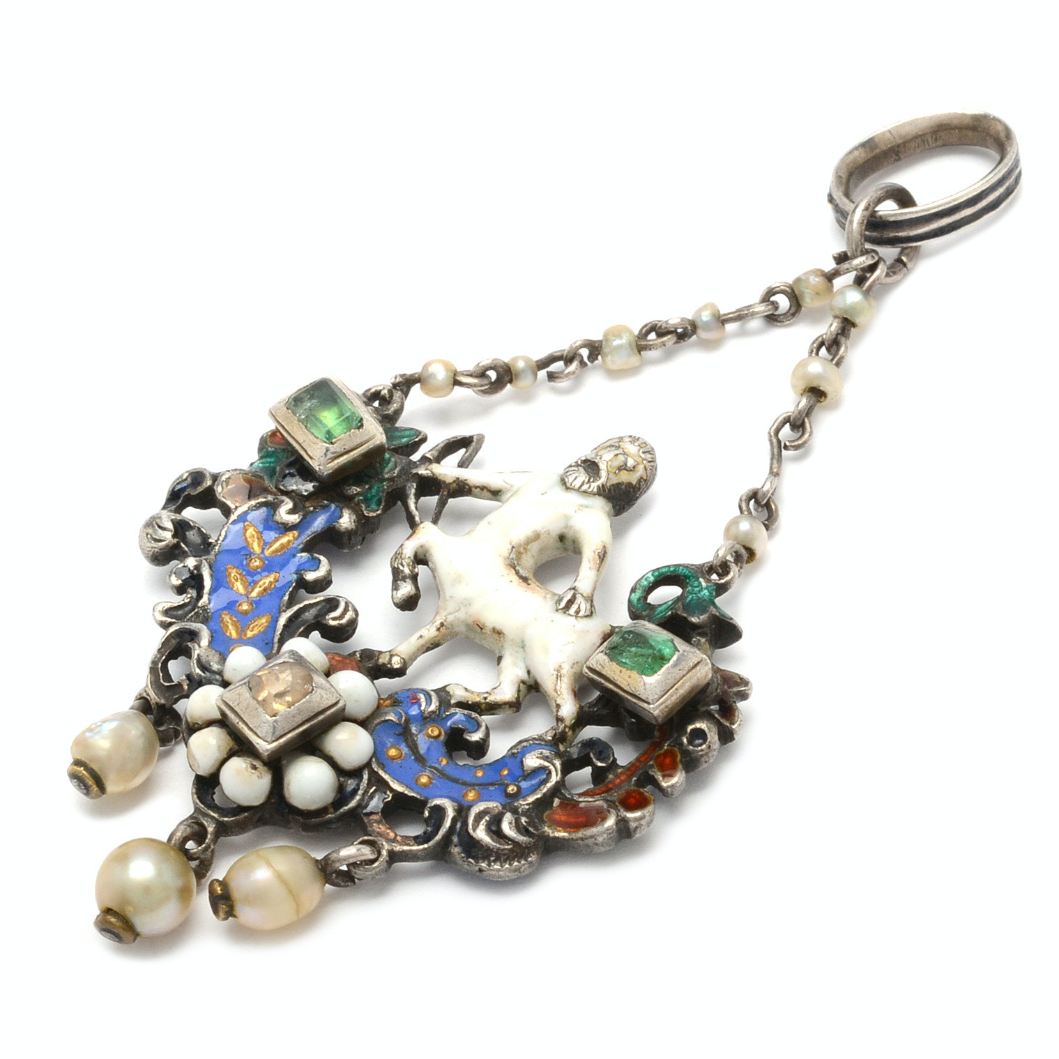 Antique Sterling Silver Enamel Centaur Pendant with Diamond and Emeralds