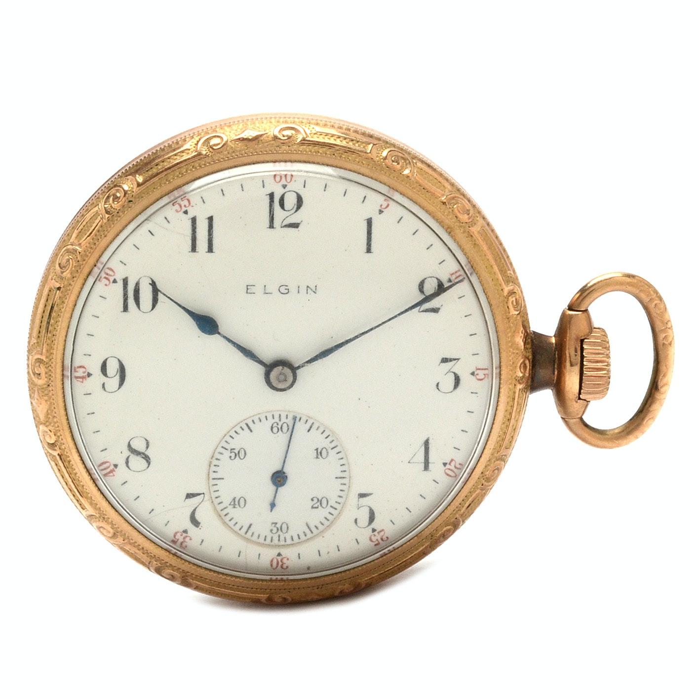 Open Face Elgin Sidewinder Pocket Watch
