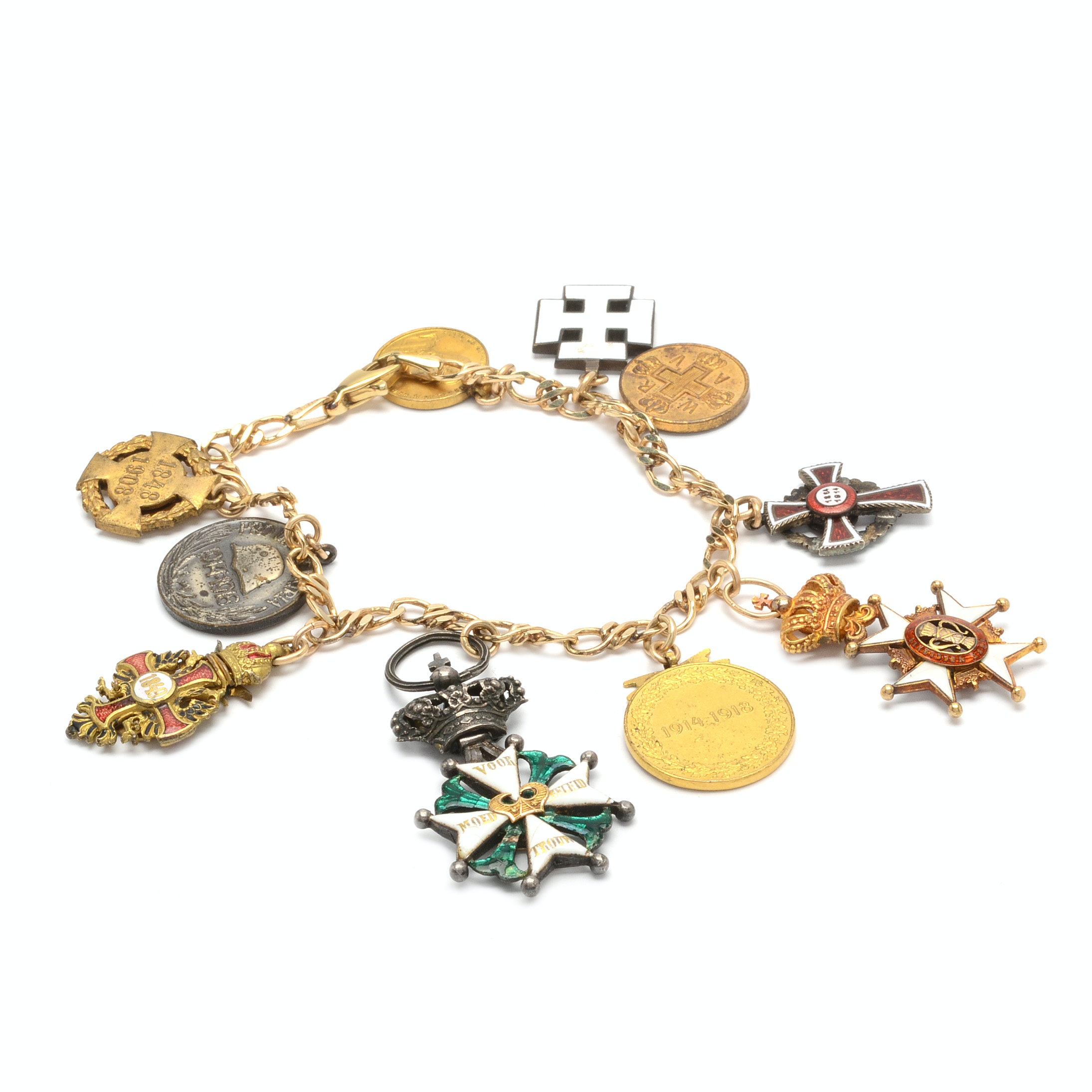 14K Gold Charm Bracelet With Coins and Miniature Medals