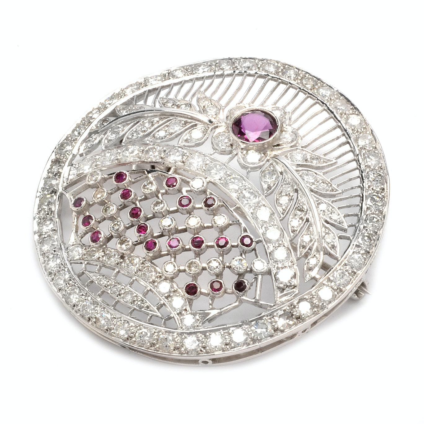 Belle Epoque Platinum 2.81 CTW Diamond and Ruby Brooch