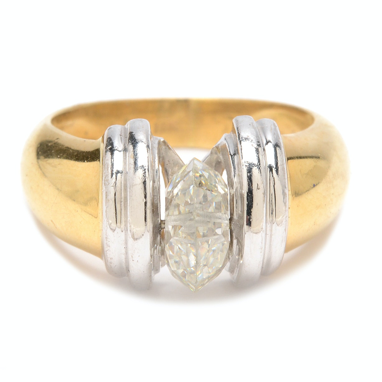 18K Yellow Gold and 14K White Gold Diamond Ring