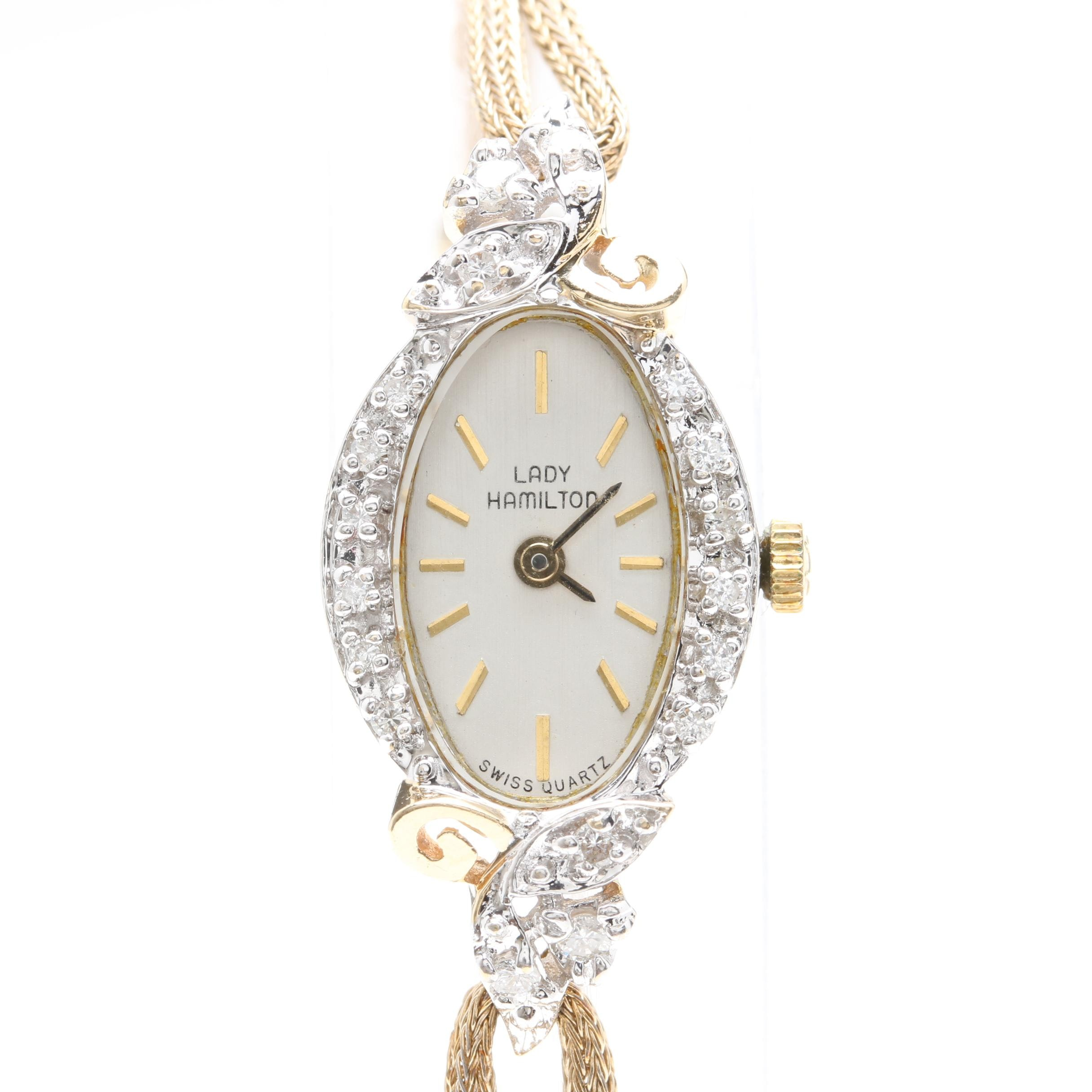 Lady Hamilton 14K Yellow Gold Diamond Watch