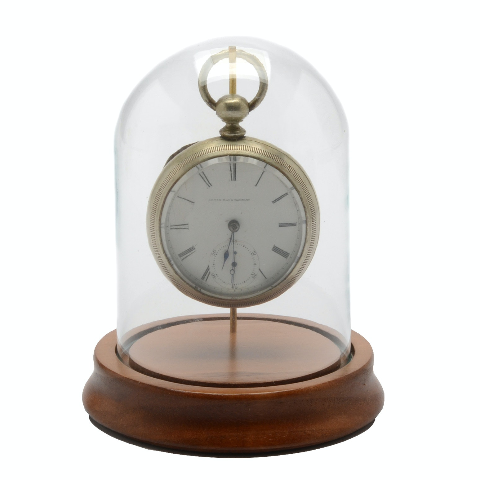Elgin Open Face Pocket Watch and Domed Display Stand
