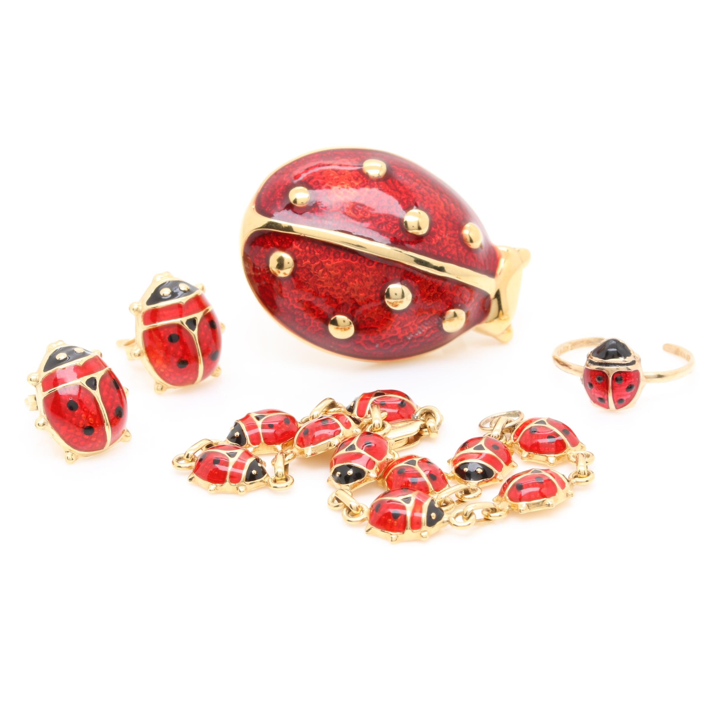 10K and 14K Yellow Gold Enamel Lady Bug Earrings, Bracelet, Brooch and Ring