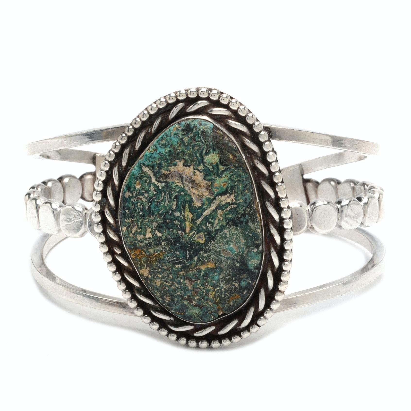 Sterling Silver Eilat Stone Triple-Split Shank Cuff Bracelet