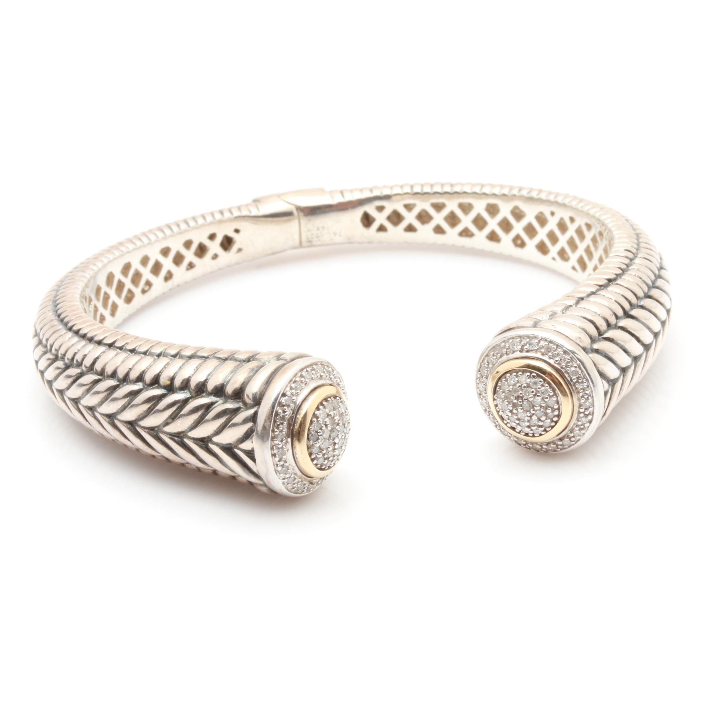 Sterling Silver Diamond Hinged Cuff Bracelet With 14K Yellow Gold Accents