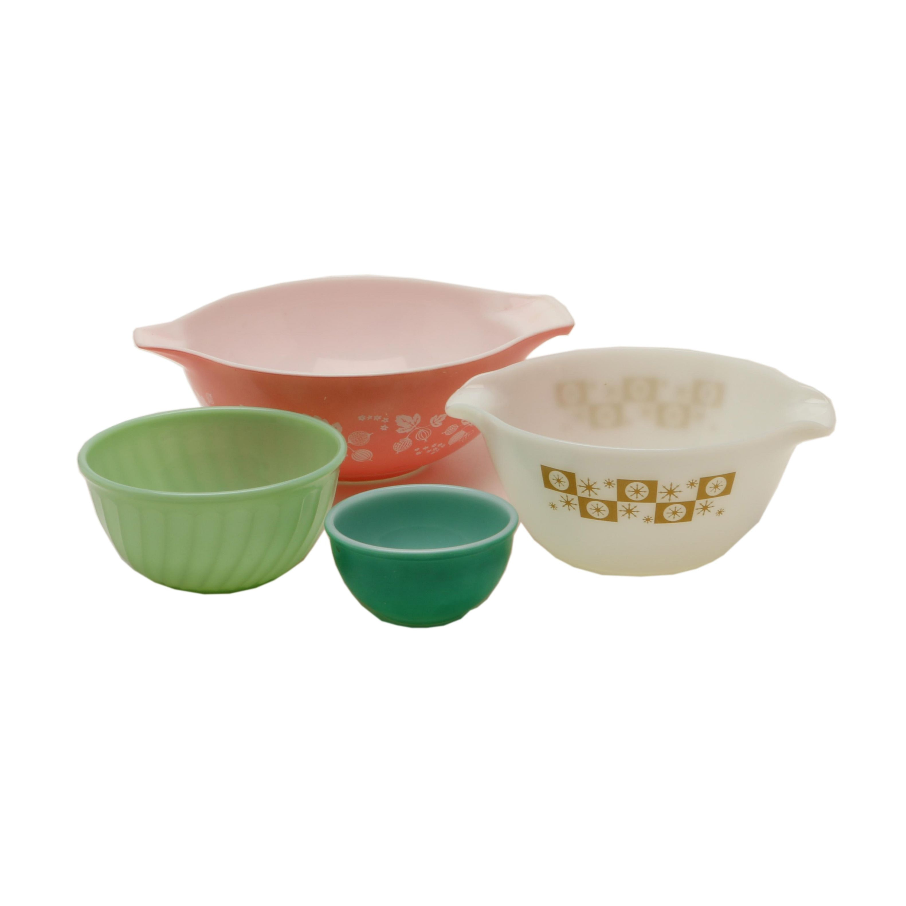 "Pyrex ""Gooseberry Pink"" Cinderella Mixing Bowl and Fire King Bowls"