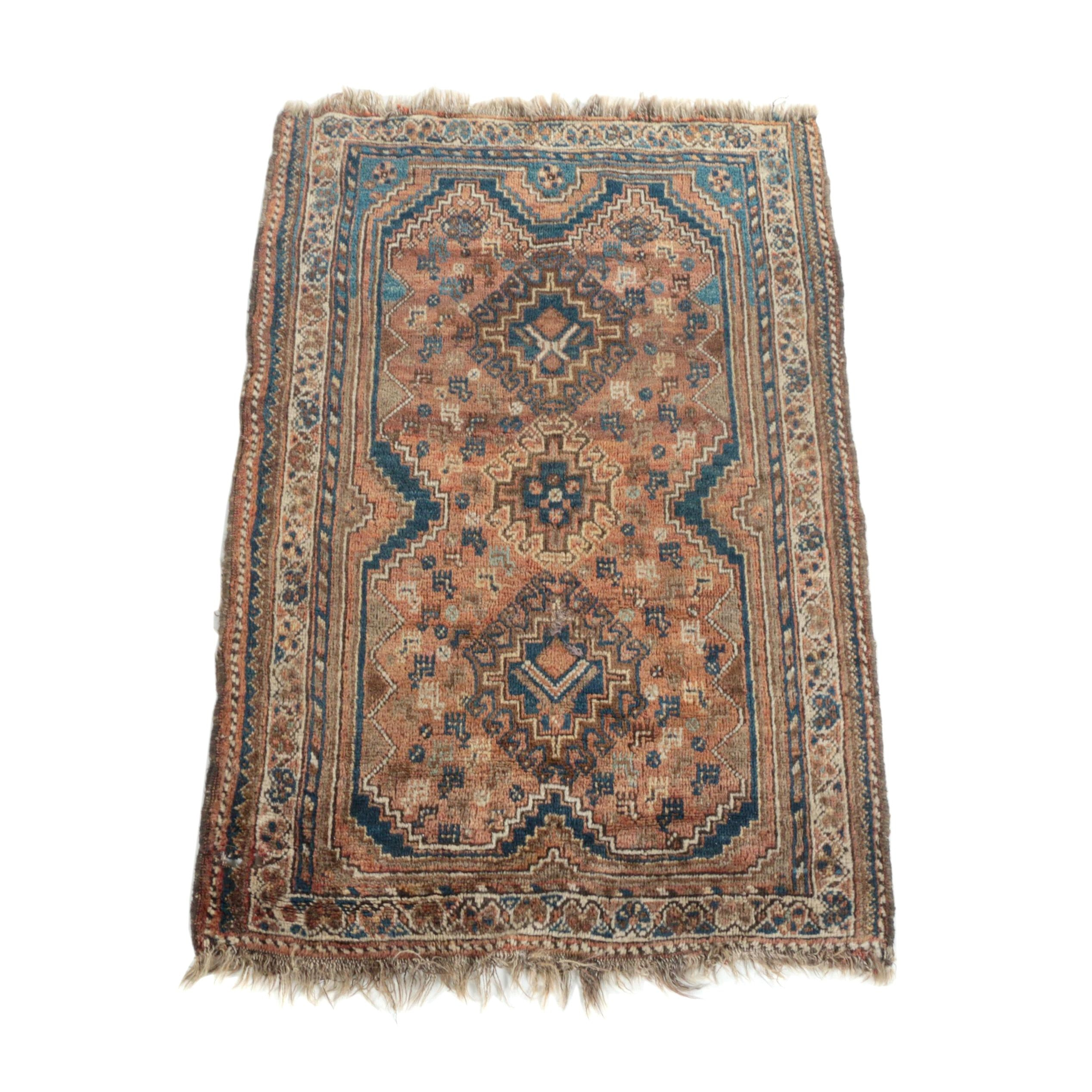 Antique Hand-Knotted Persian Tribal Accent Rug