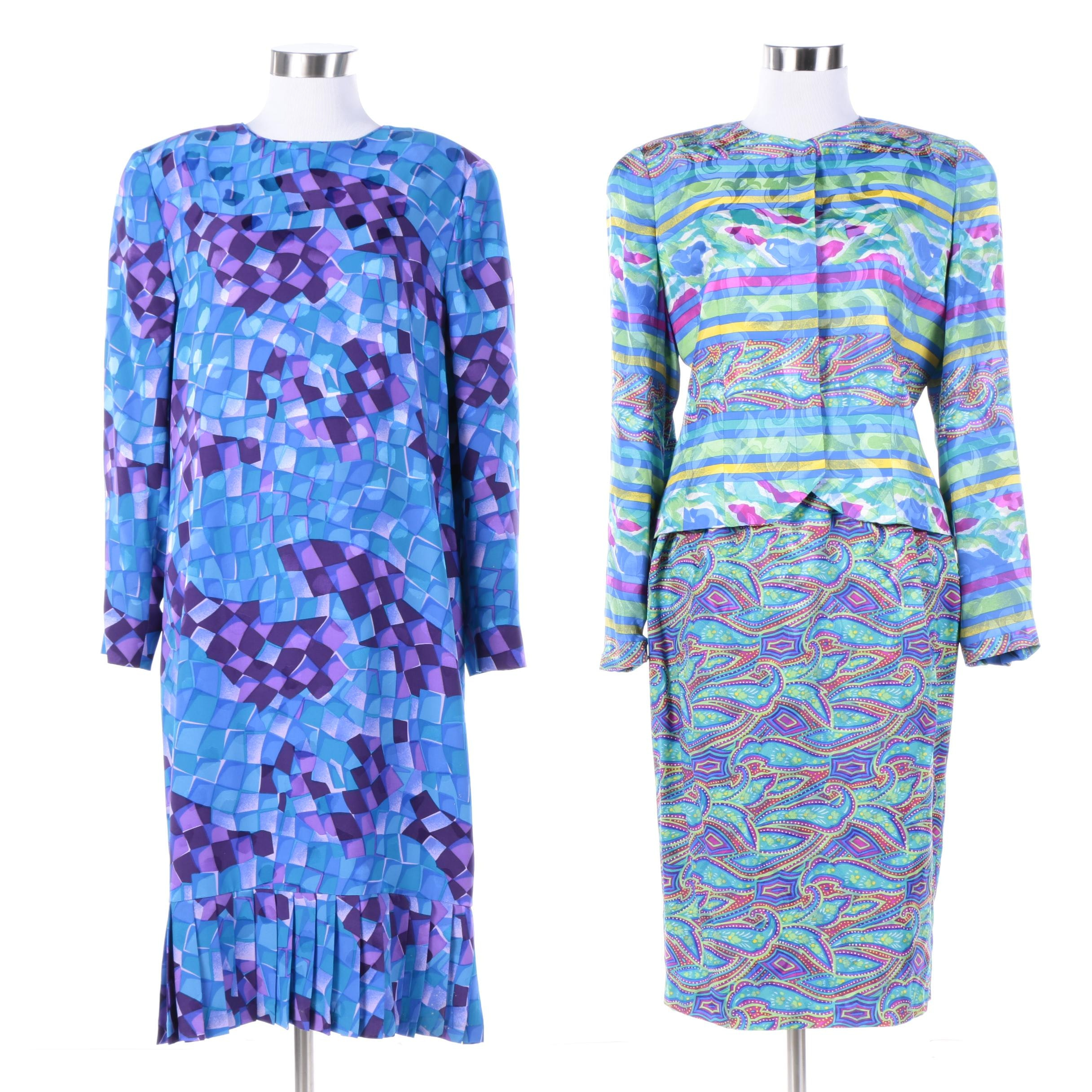 Vintage Anne Cummins Silk and Adele Simpson Two-Piece Outfits