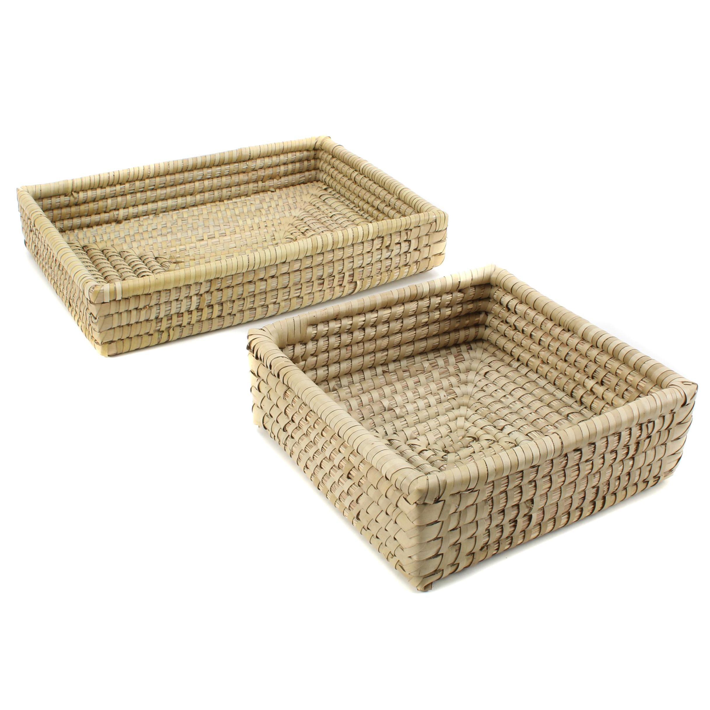 Rectangular and Square Woven Basket Pair