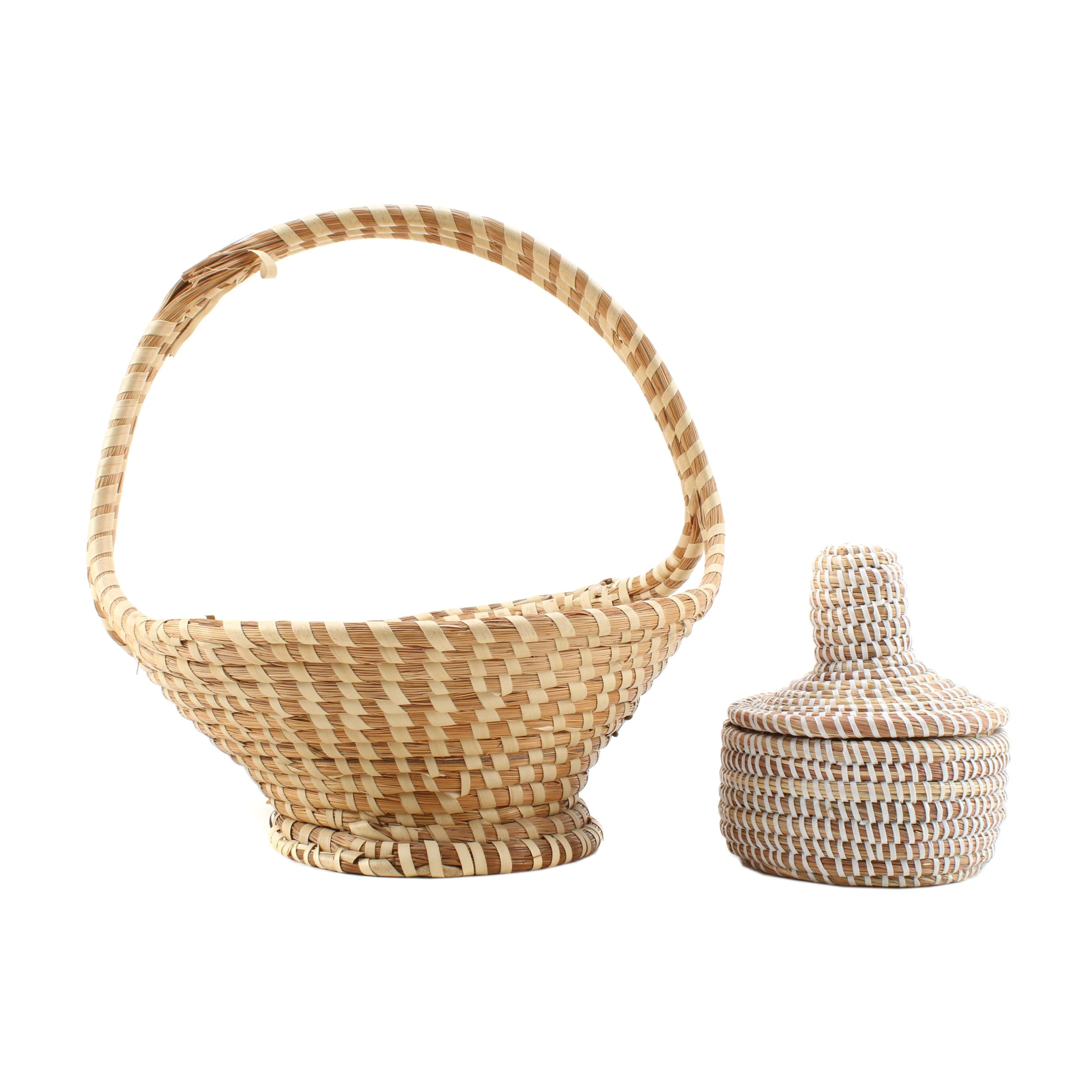 Woven Handled Flower Basket and Woven Lidded Basket