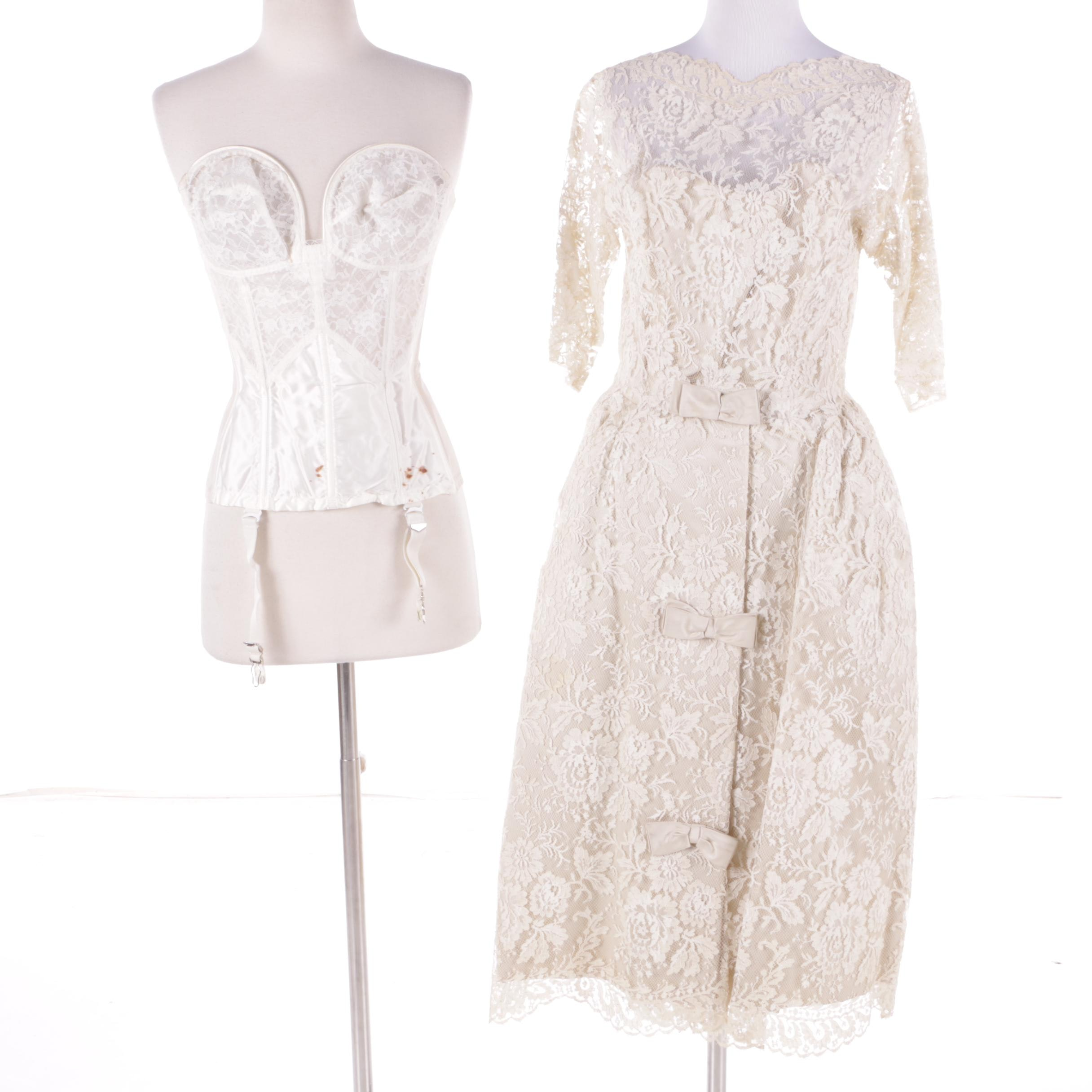 1950s Vintage Marshall Field & Company Wedding Dress and Corset