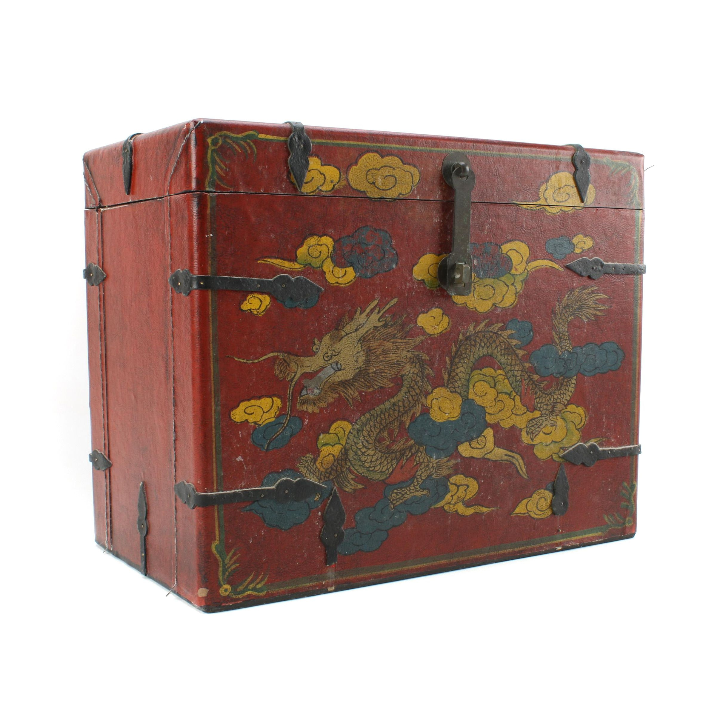 Chinese Leather Chest with Dragon Motif