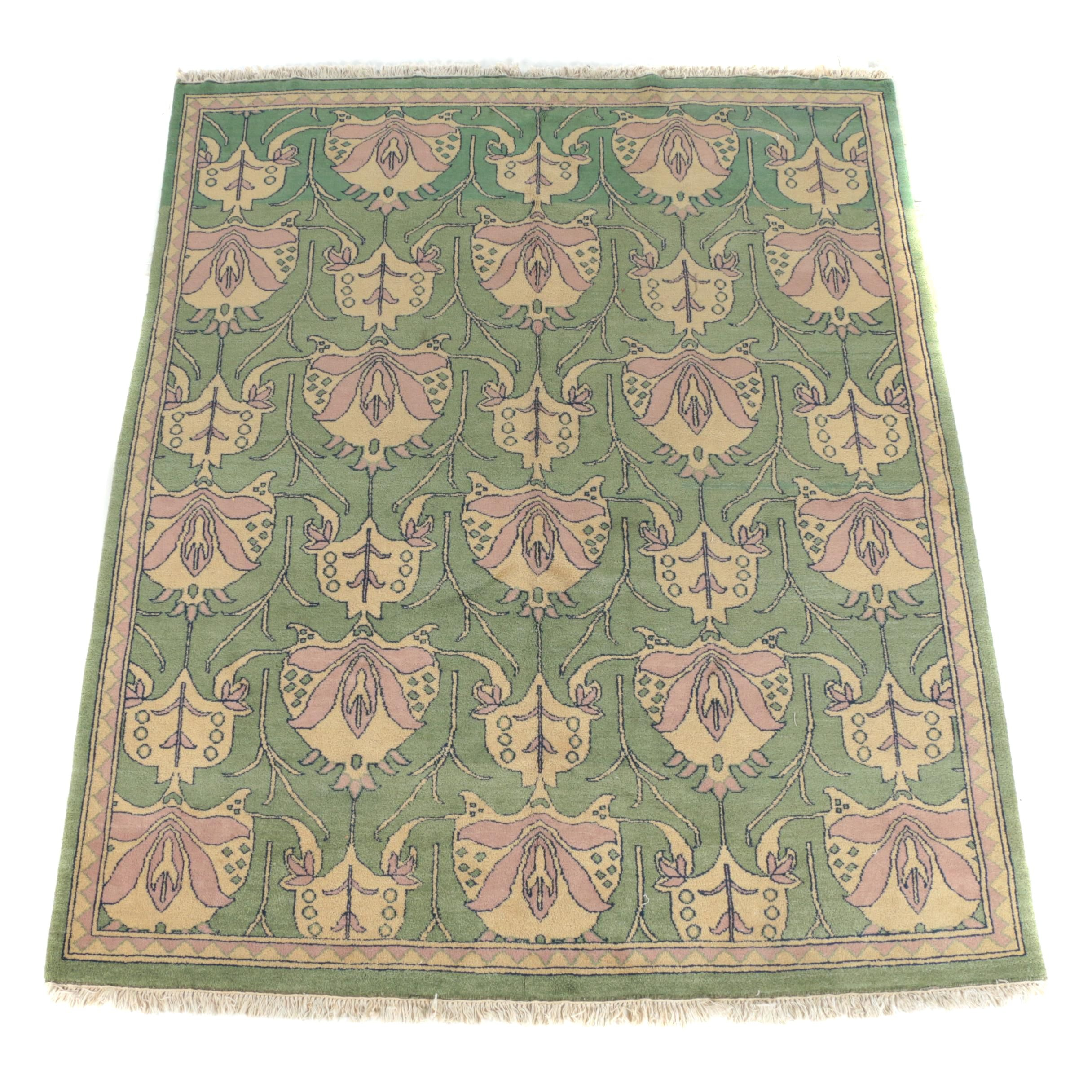 Vintage Hand-Knotted Arts and Crafts-Style Wool Area Rug