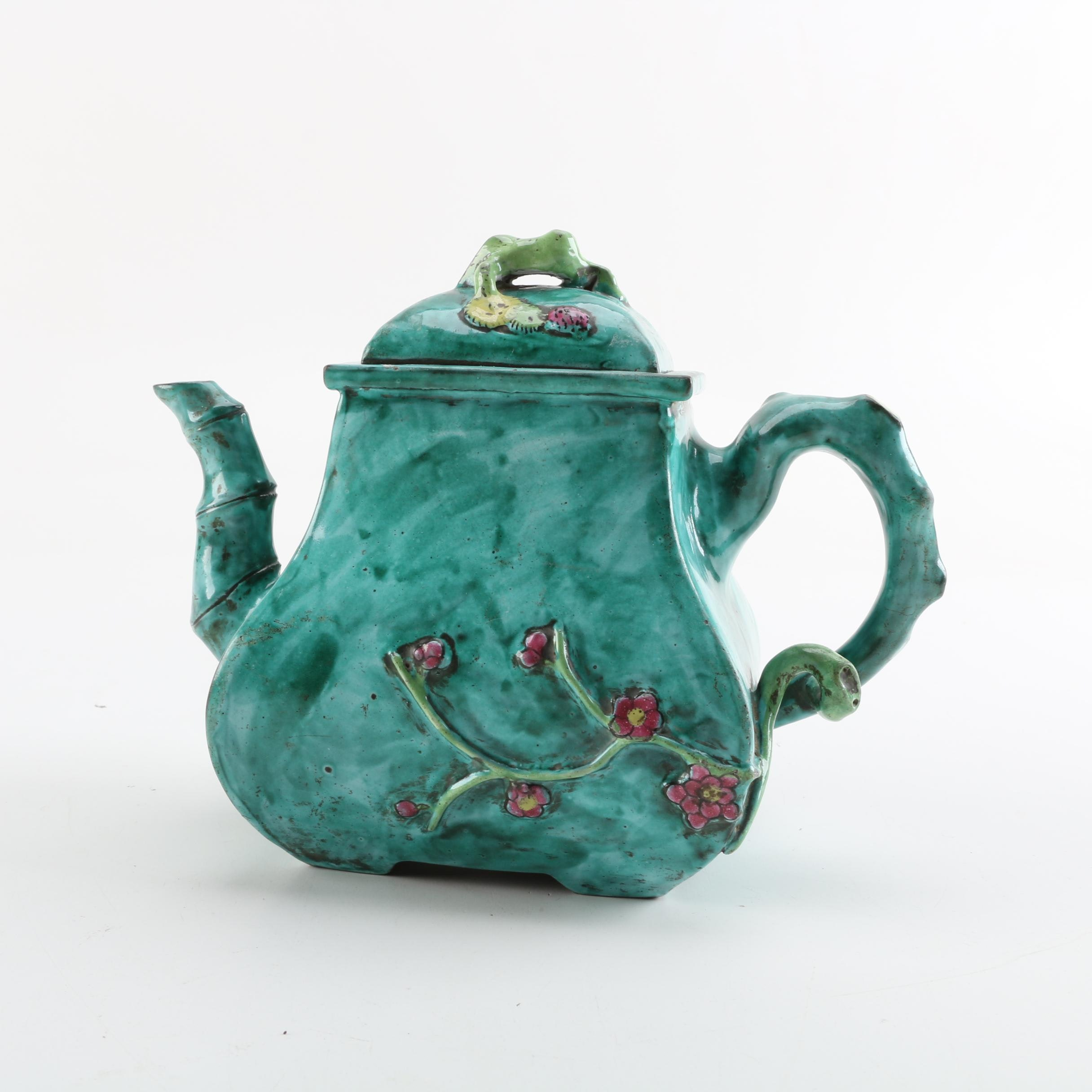 East Asian Majolica Style Earthenware Teapot
