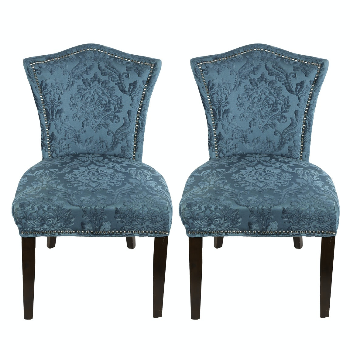 Contemporary Damask Covered Side Chairs ...
