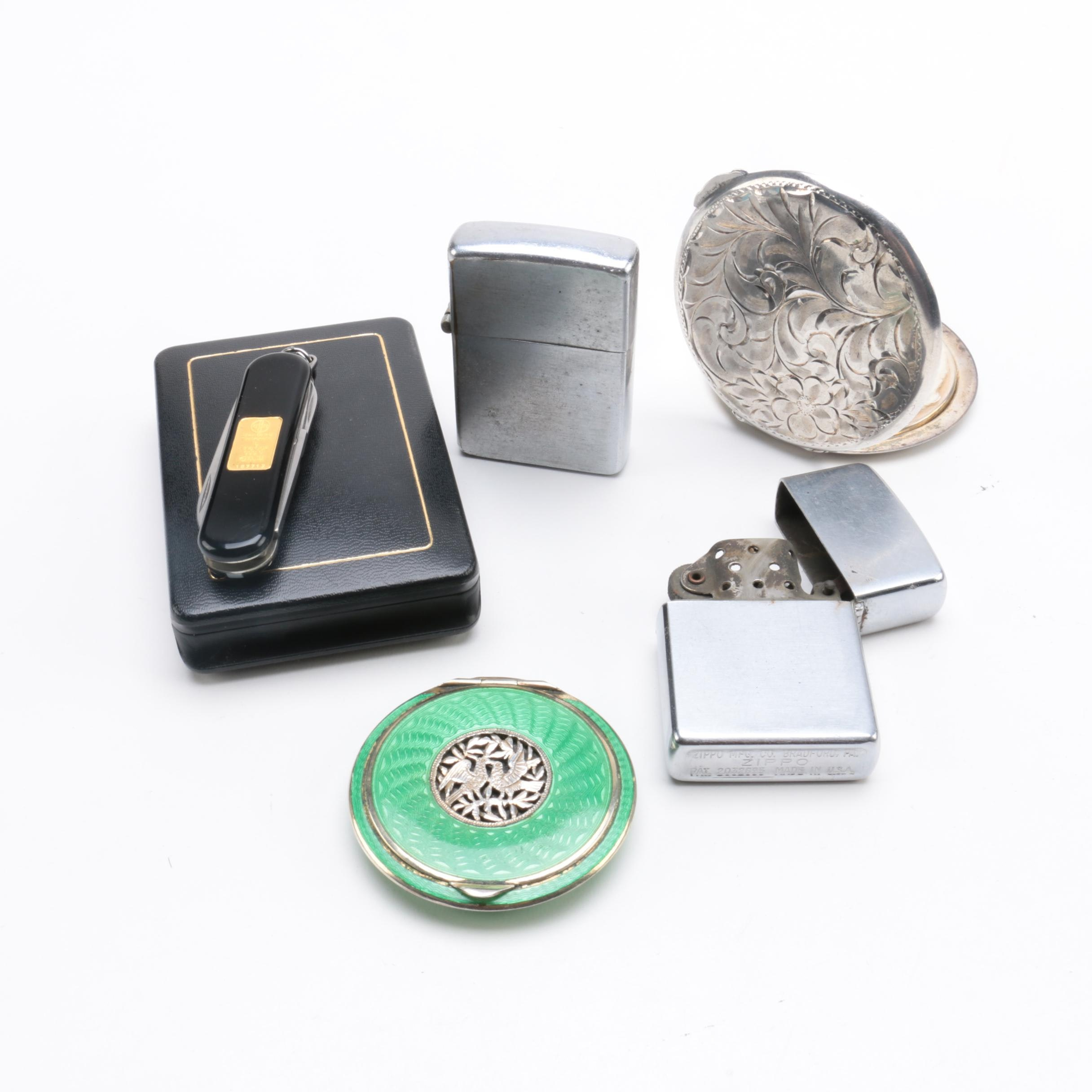 Victorinox Gold Ingot Knife with Birks Sterling Compact and Zippo Lighters