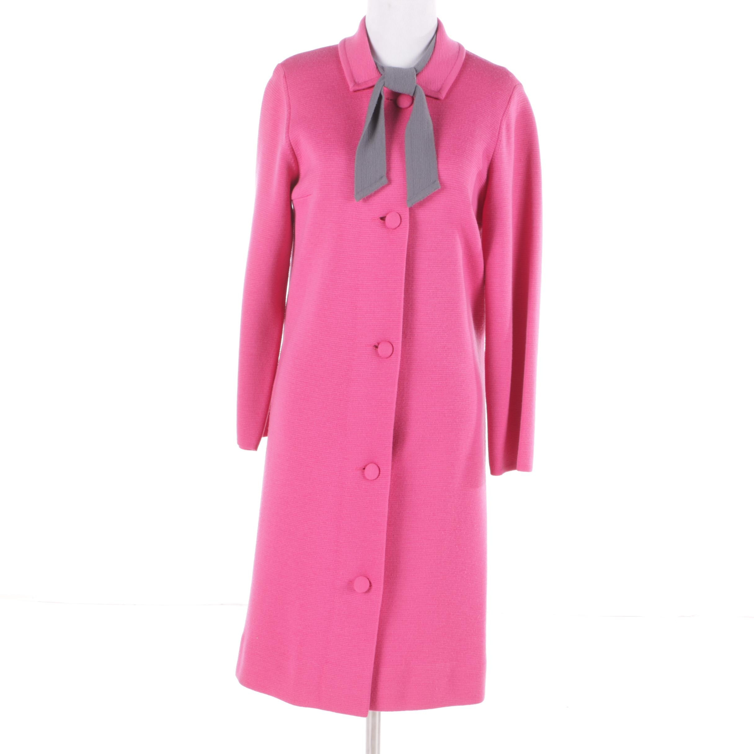 Women's Vintage Saks Fifth Avenue Pink and Grey Wool Coat and Dress