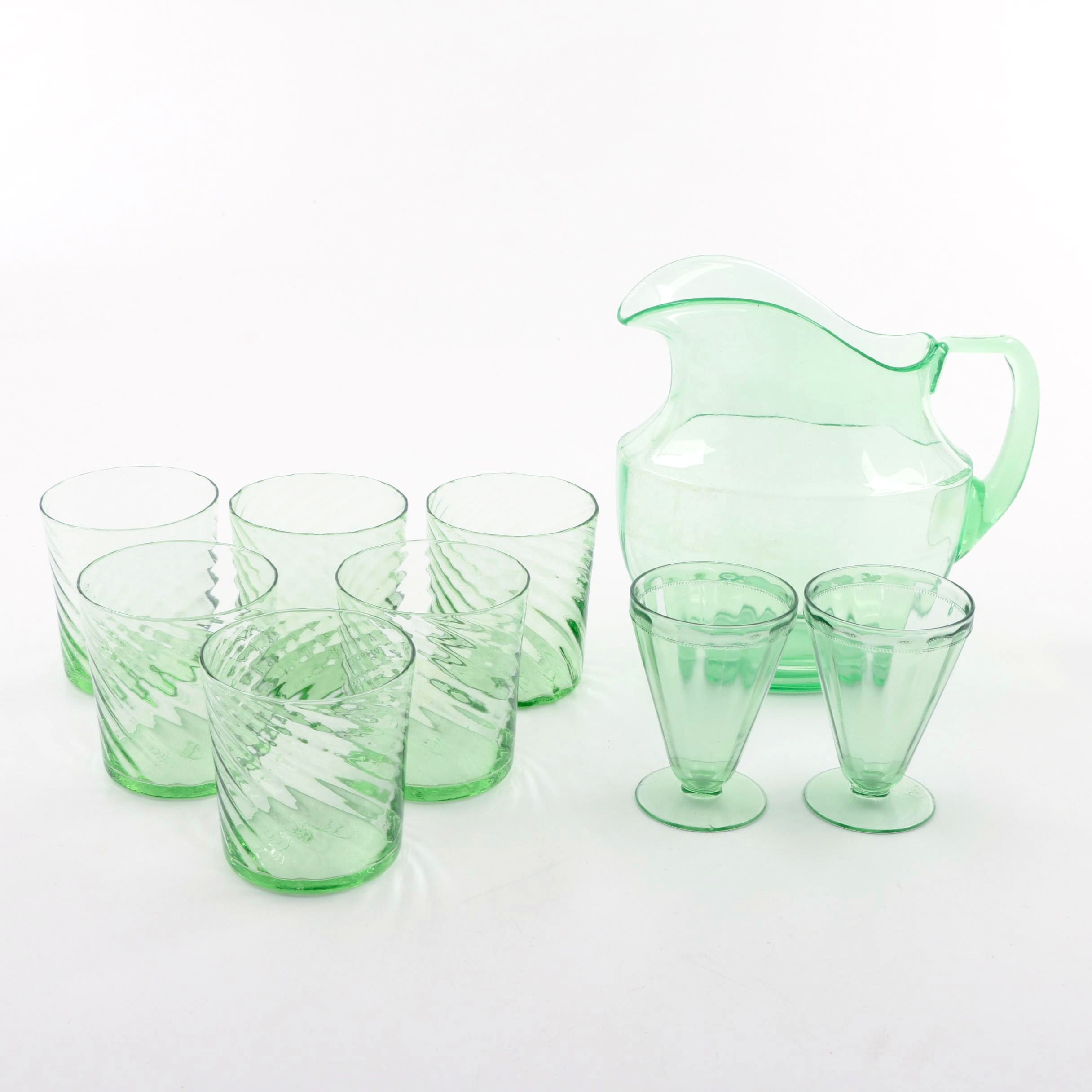 Green Depression Glass Pitcher and Tumblers