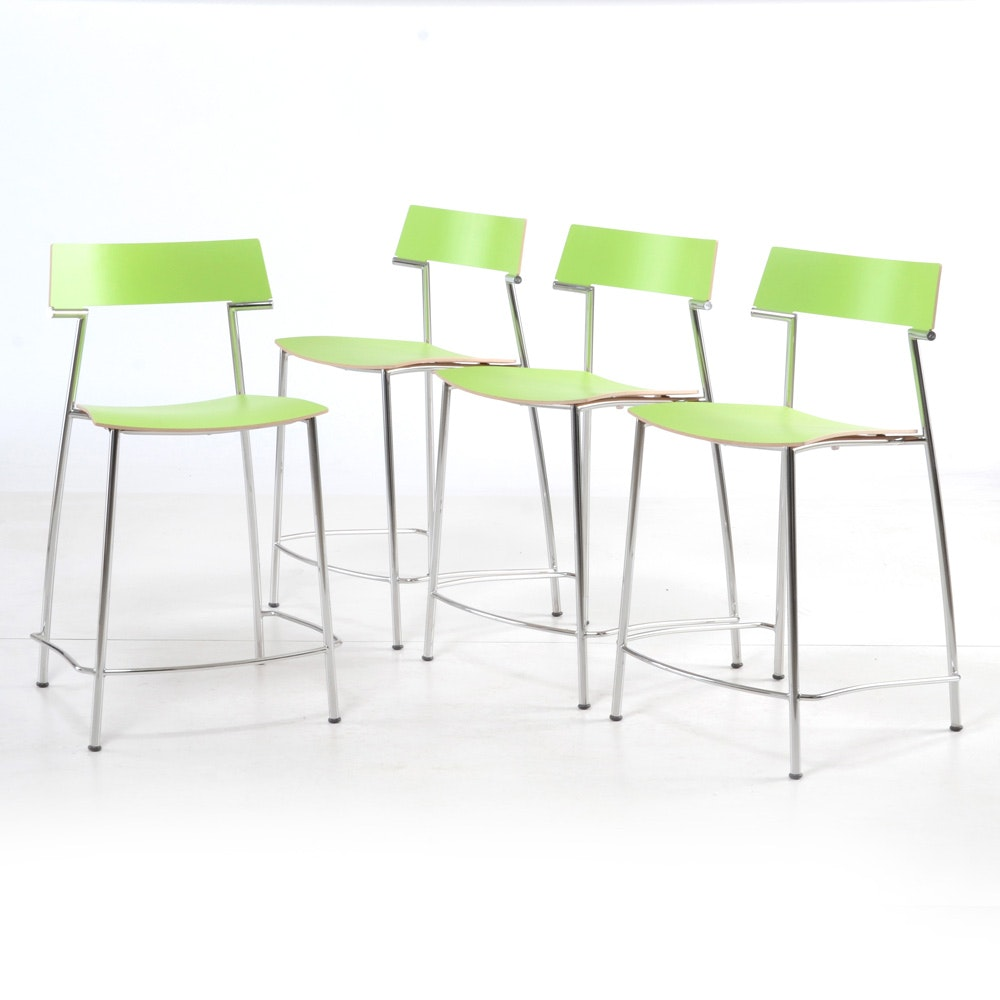 Four Laminated Lime Green Counter Stools