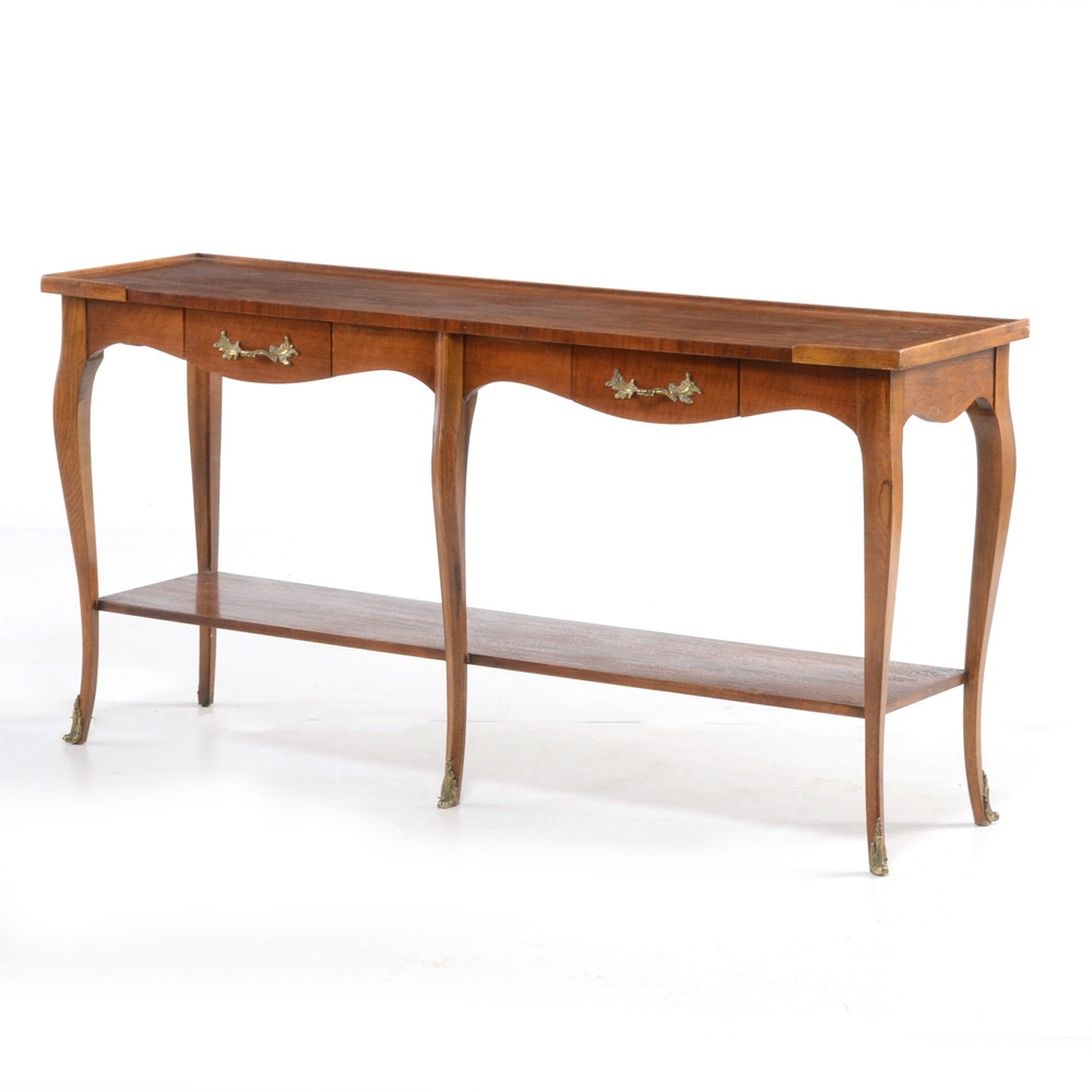 Baker French Provincial Style Walnut Console Table