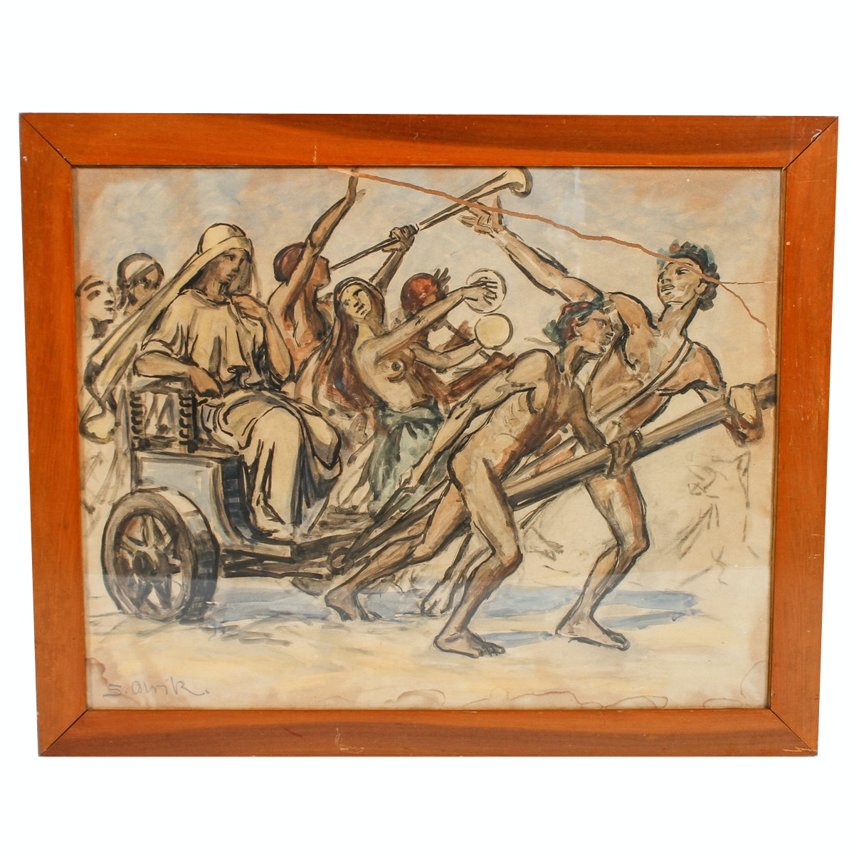 Sigurd Olrik Watercolor Painting of Greek Chariot Scene
