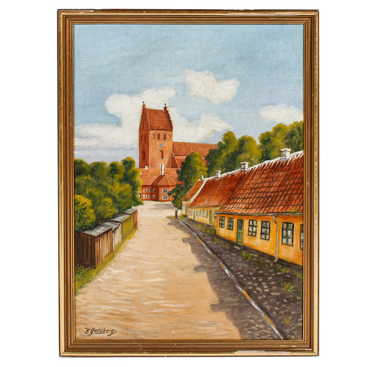 K. Guldberg Rural Streetscape Oil Painting
