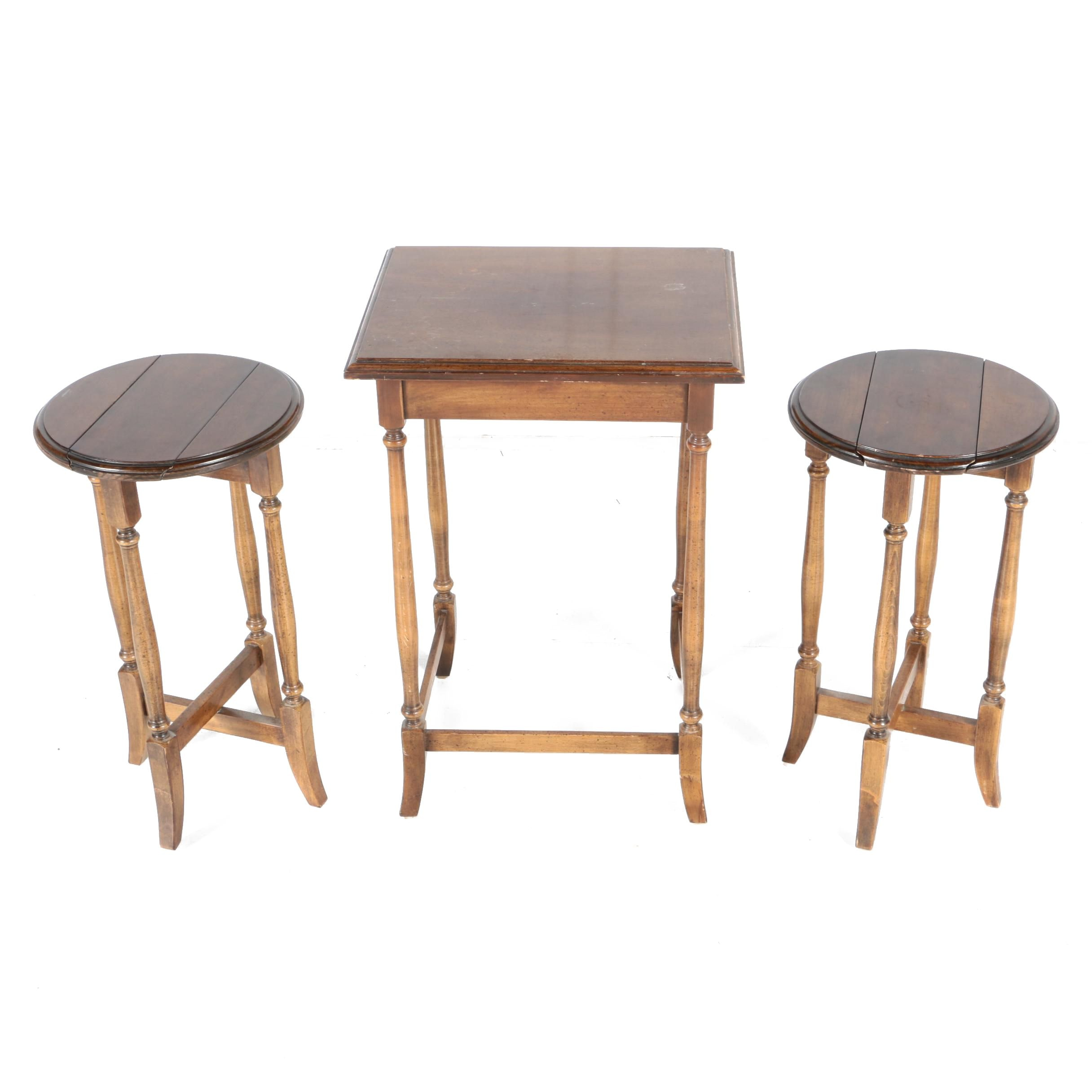 Three-Piece Set of Vintage Wood Side Tables