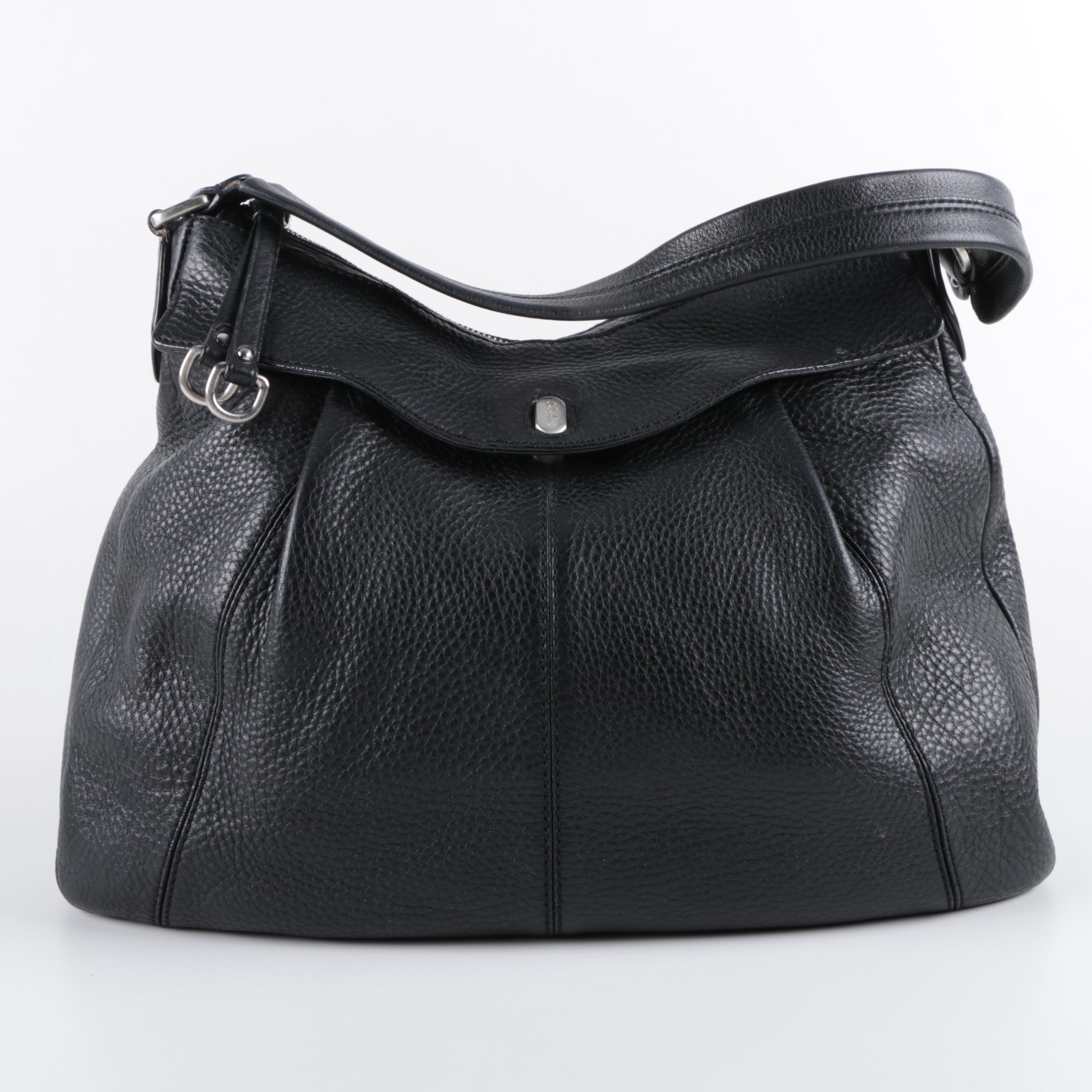 Cole Haan Black Pebbled Leather Hobo Bag