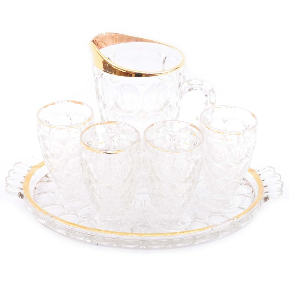 "Jeannette Glass ""Thumbprint"" Gold Trim Pressed Glass Juice Set"