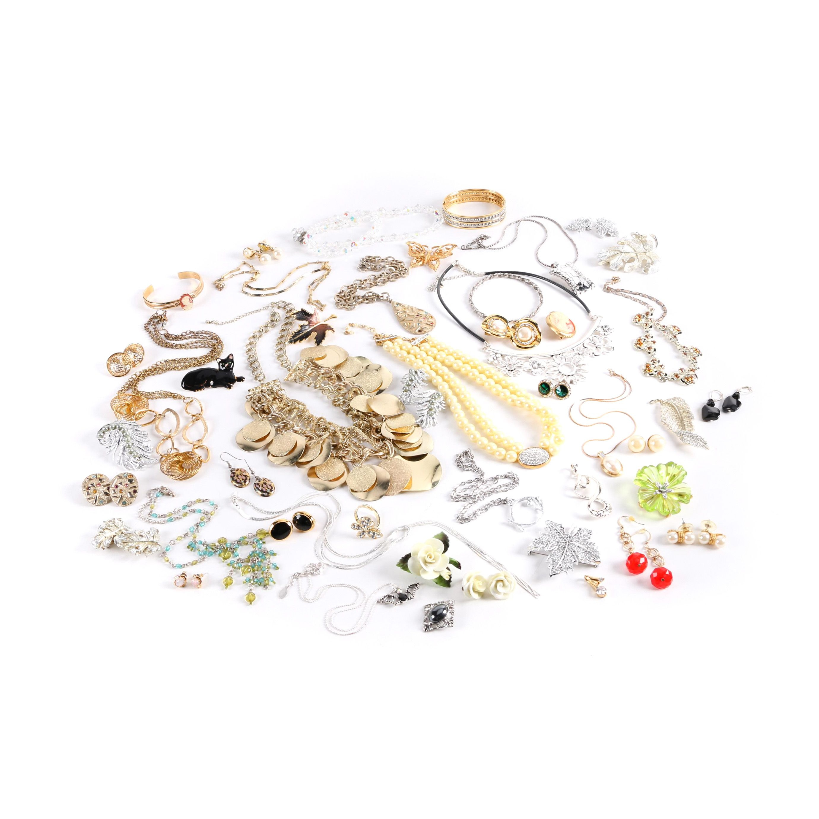 Assortment of Sarah Coventry Jewelry Including Imitation Pearl and Porcelain