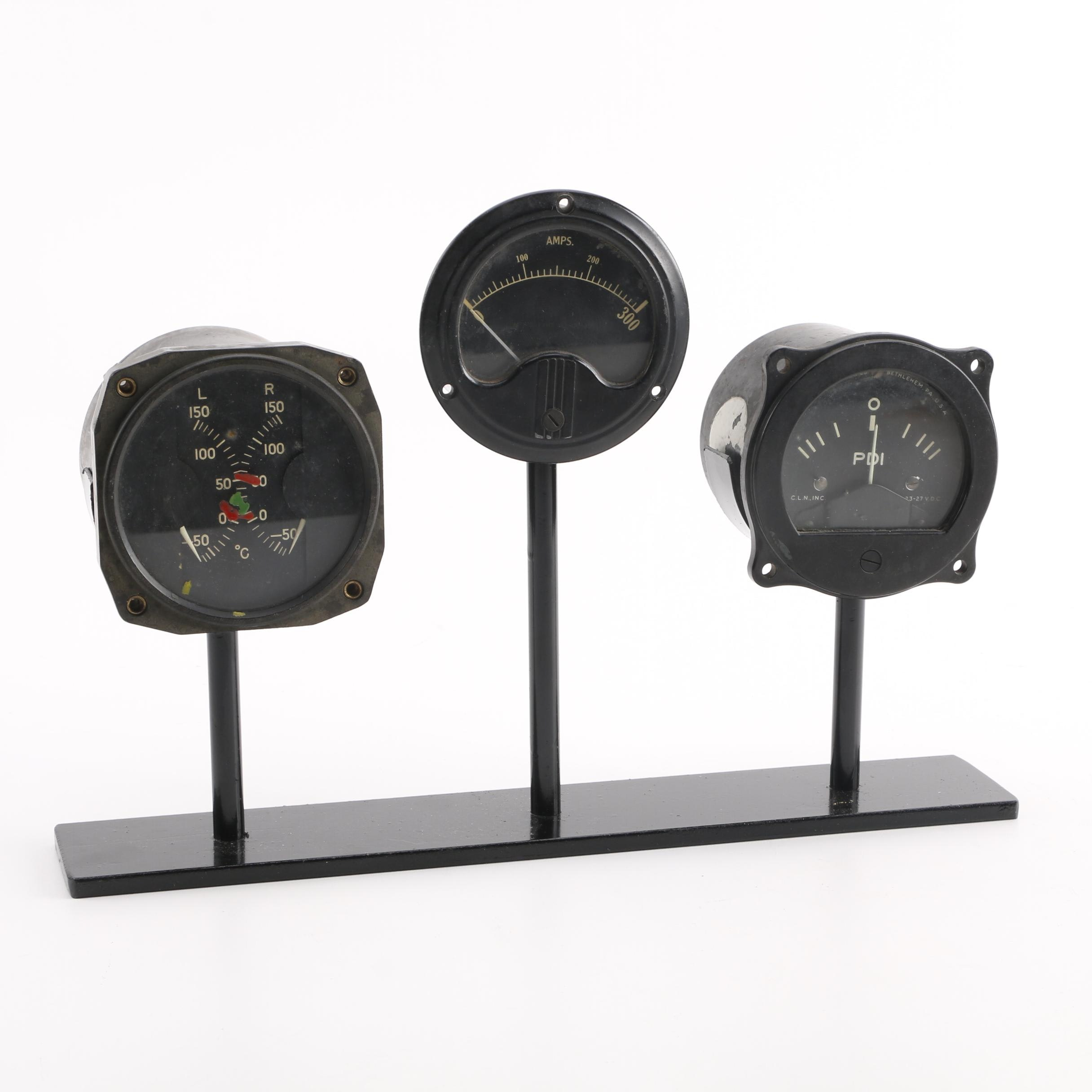 WWII Era B-17 Flying Fortress and B-24 Liberator Cockpit Instrument Gauges