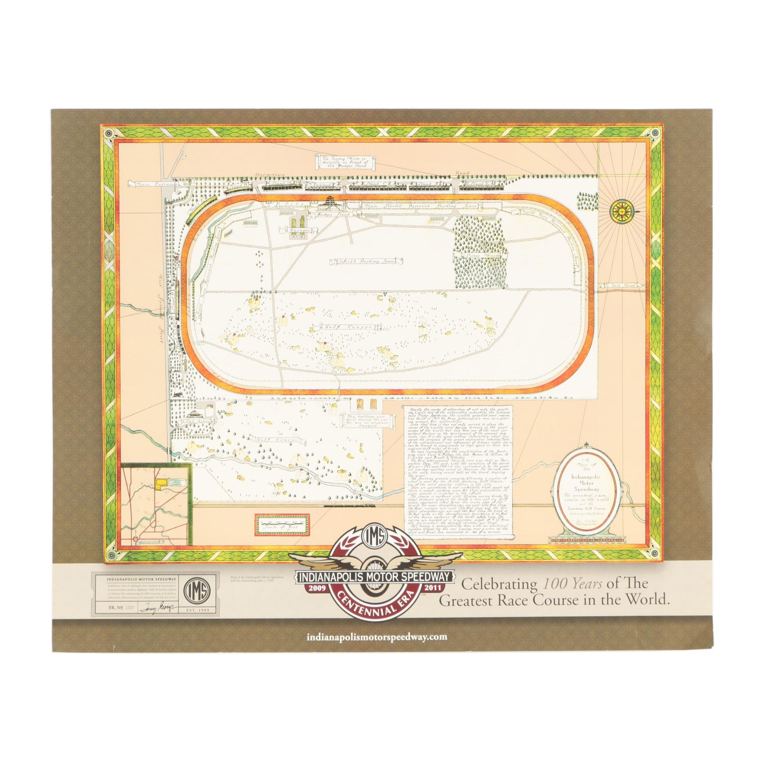 "2009 Poster ""Centennial Era: A Map of the Indianapolis Motor Speedway"""