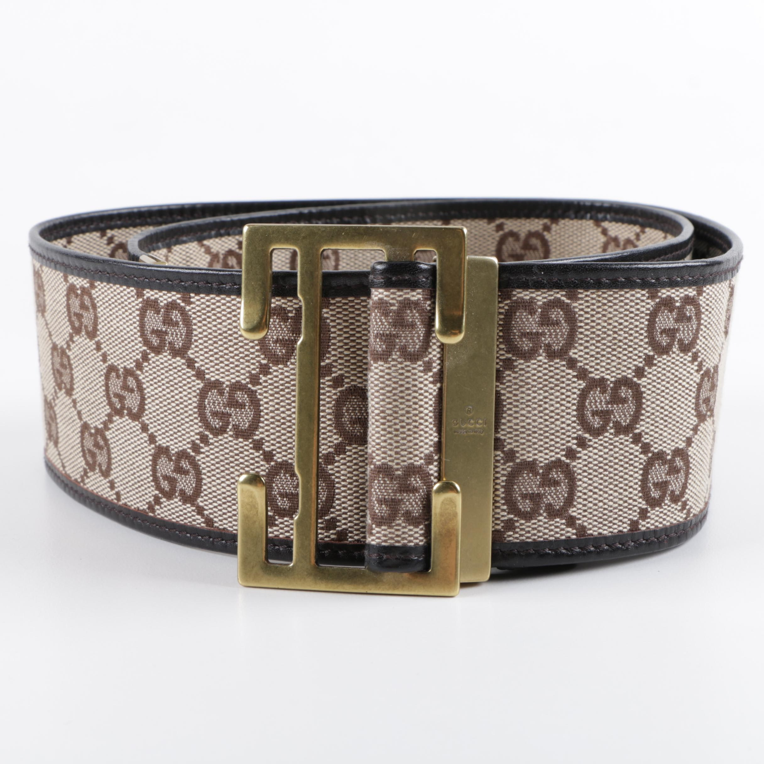 Gucci GG Supreme Canvas and Leather Belt
