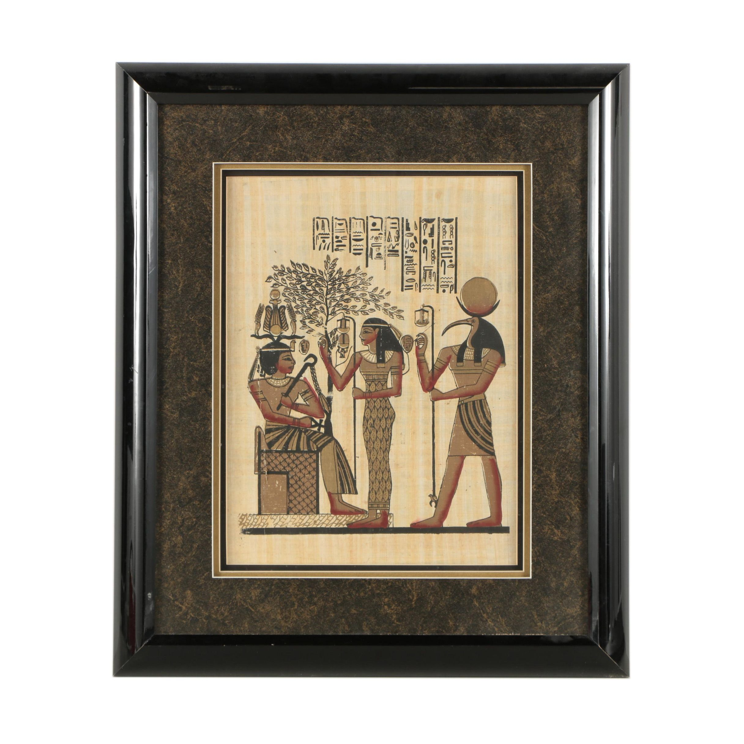 Egyptian-Style Gouache Painting on Papyrus