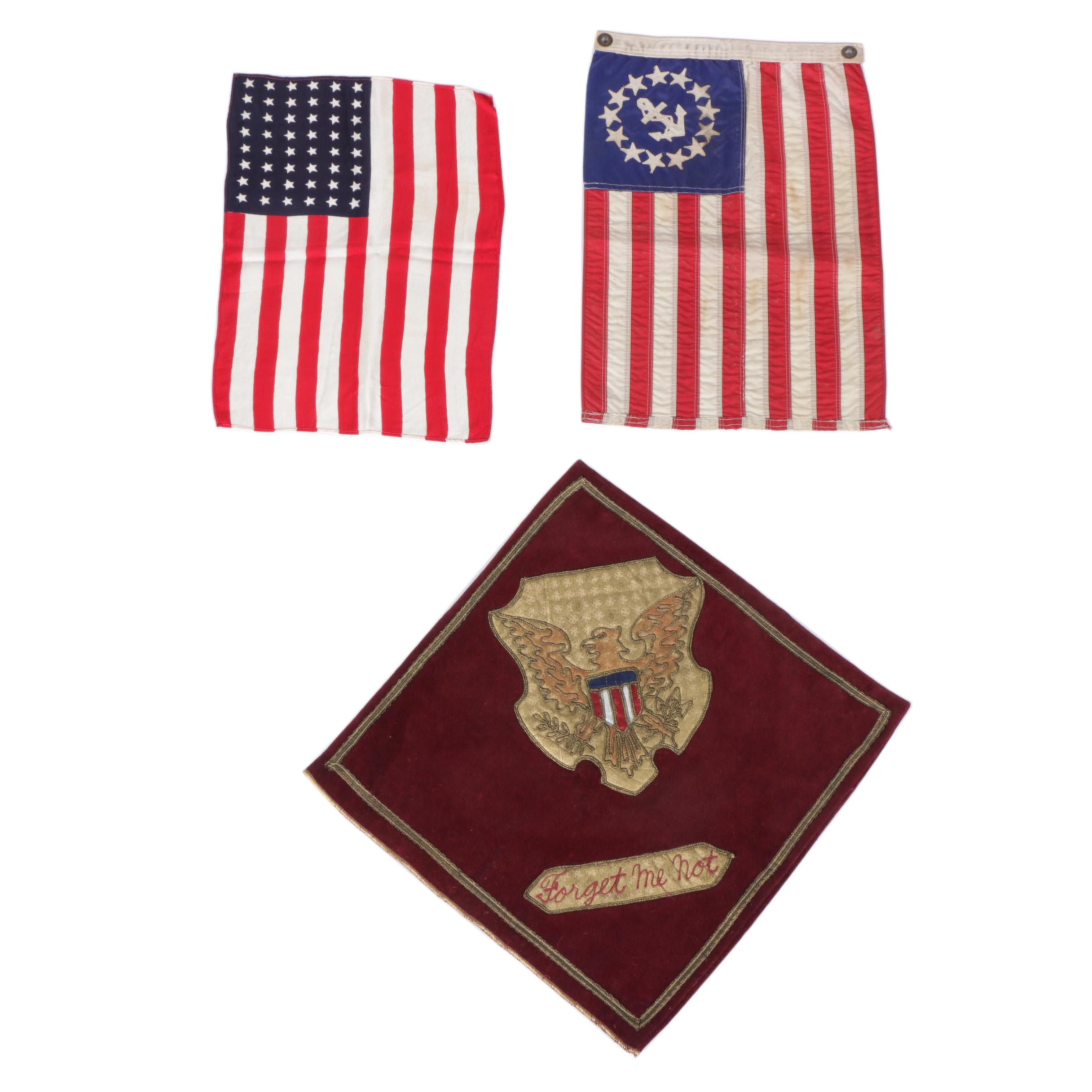 "Vintage American Flags and ""Forget Me Not"" Cloth Square"