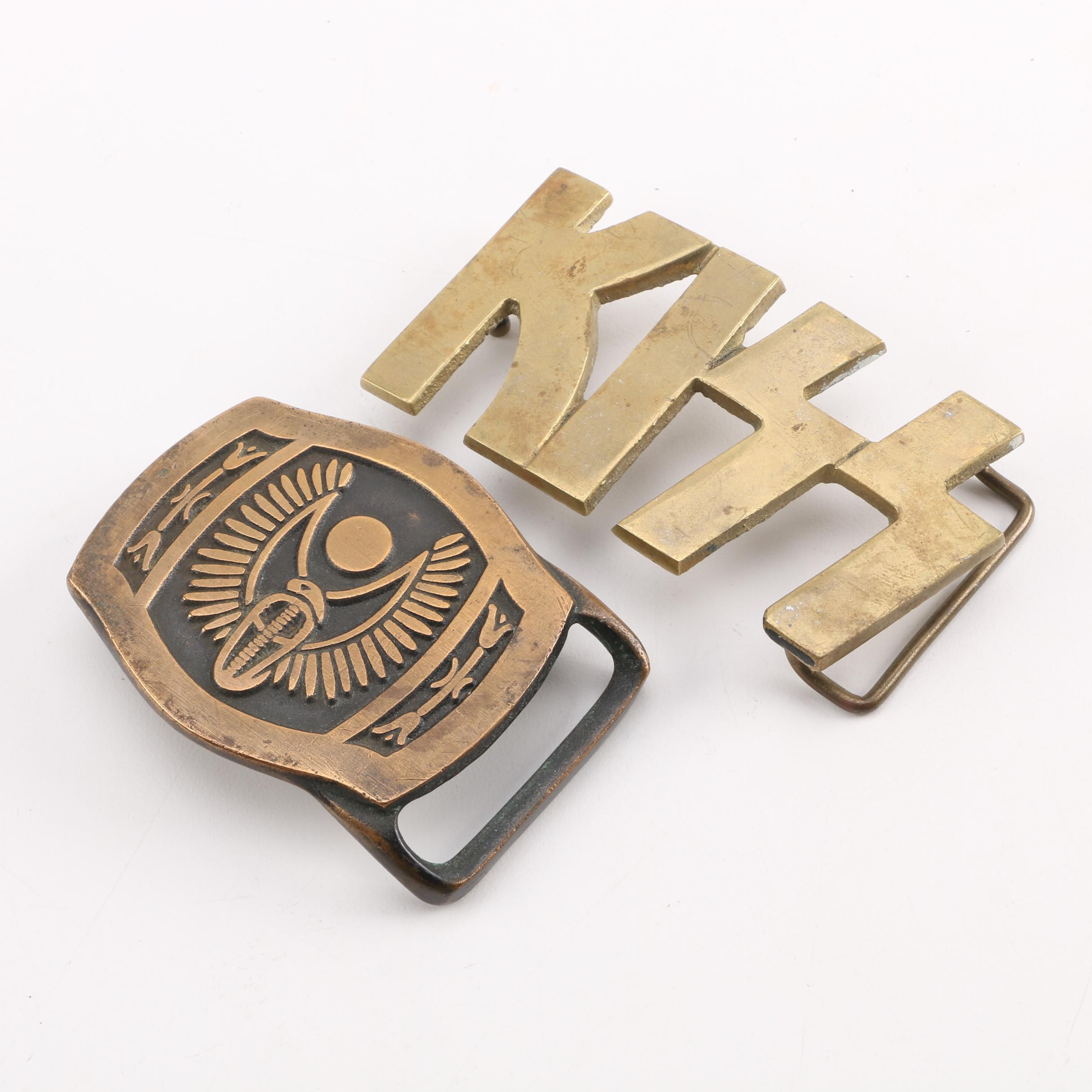 """Tech-Ether Guild """"Winged Cobra"""" and KISS Brass Belt Buckles"""