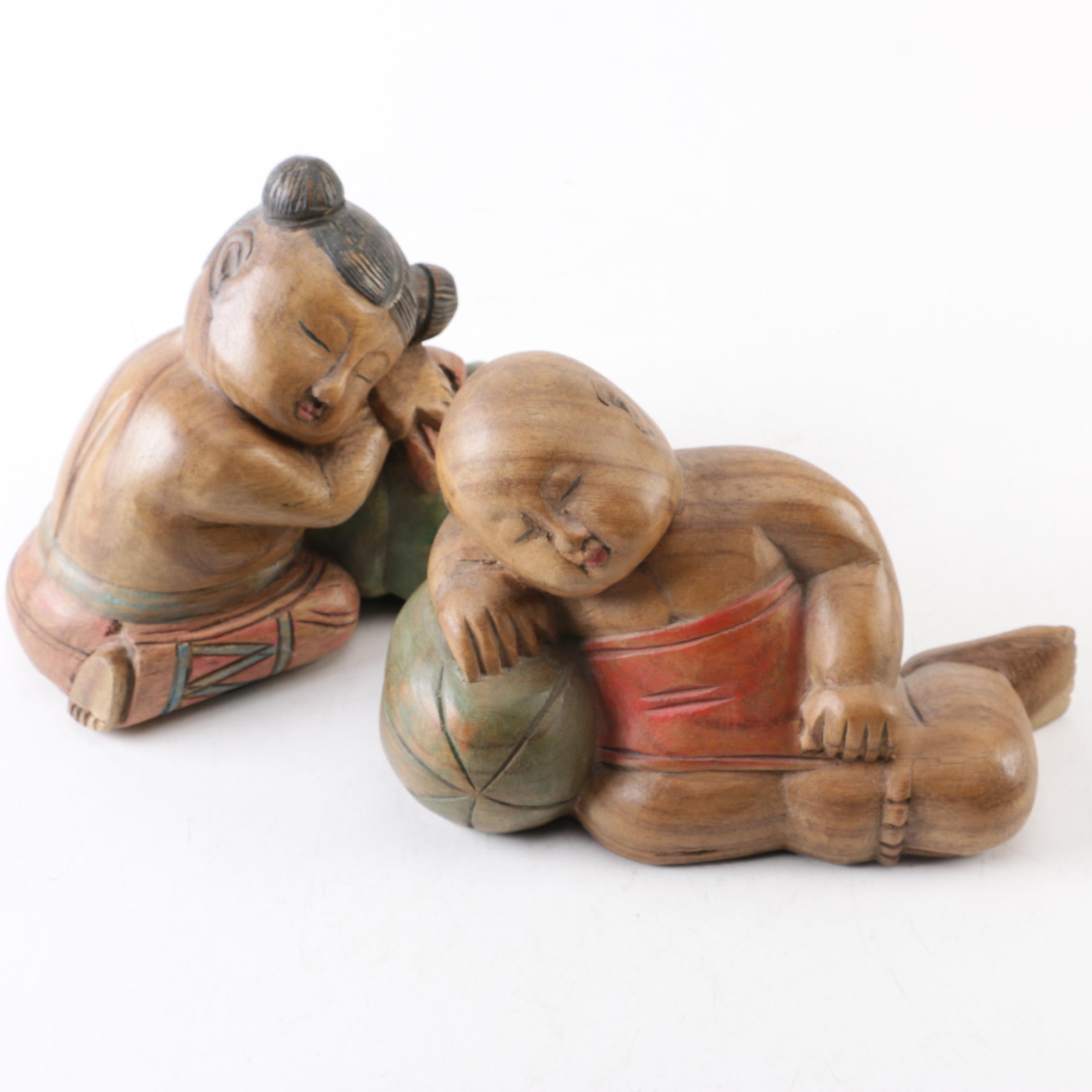 Chinese Carved Wood Sleeping Child Figurines