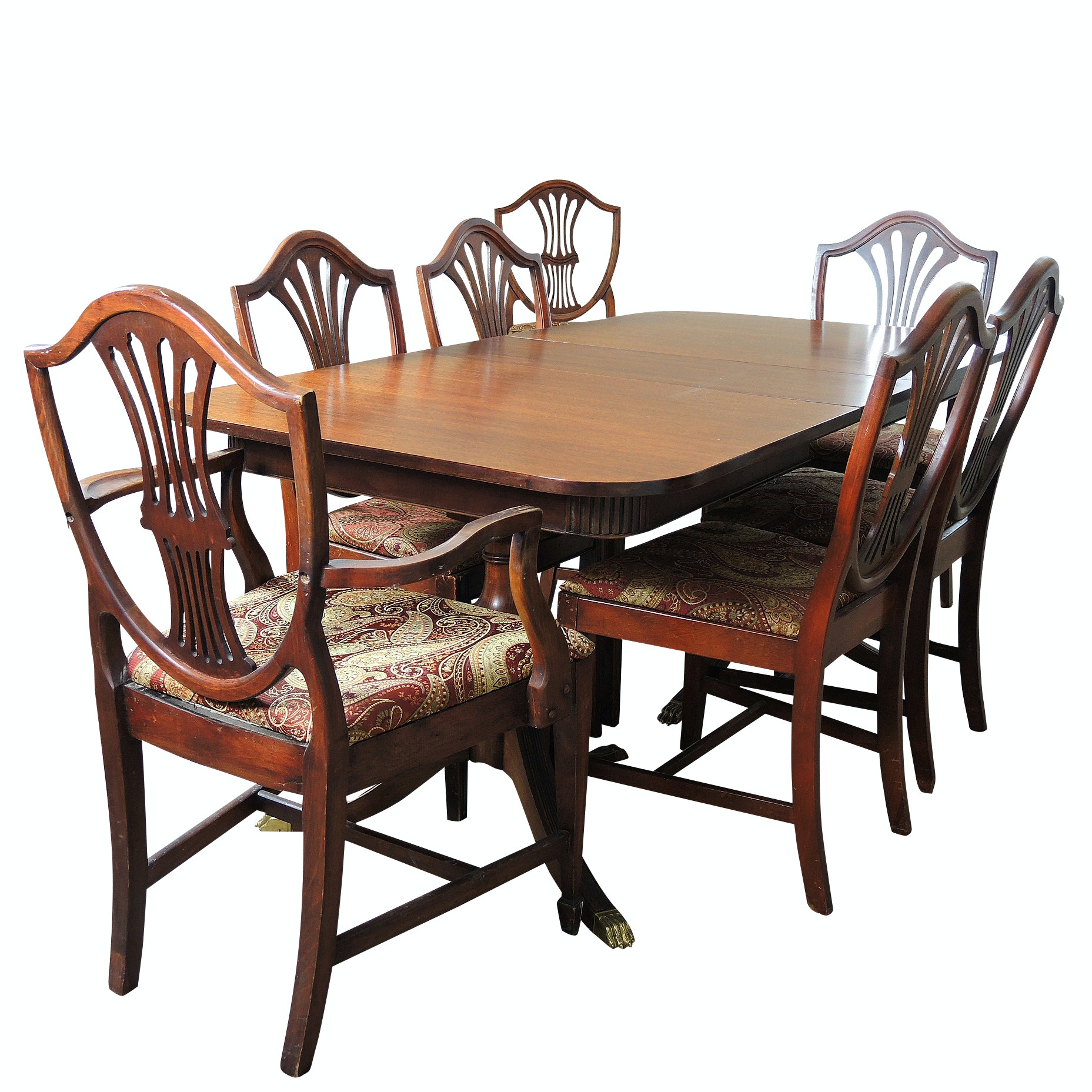 Vintage Mahogany Dining Table and Seven Chairs