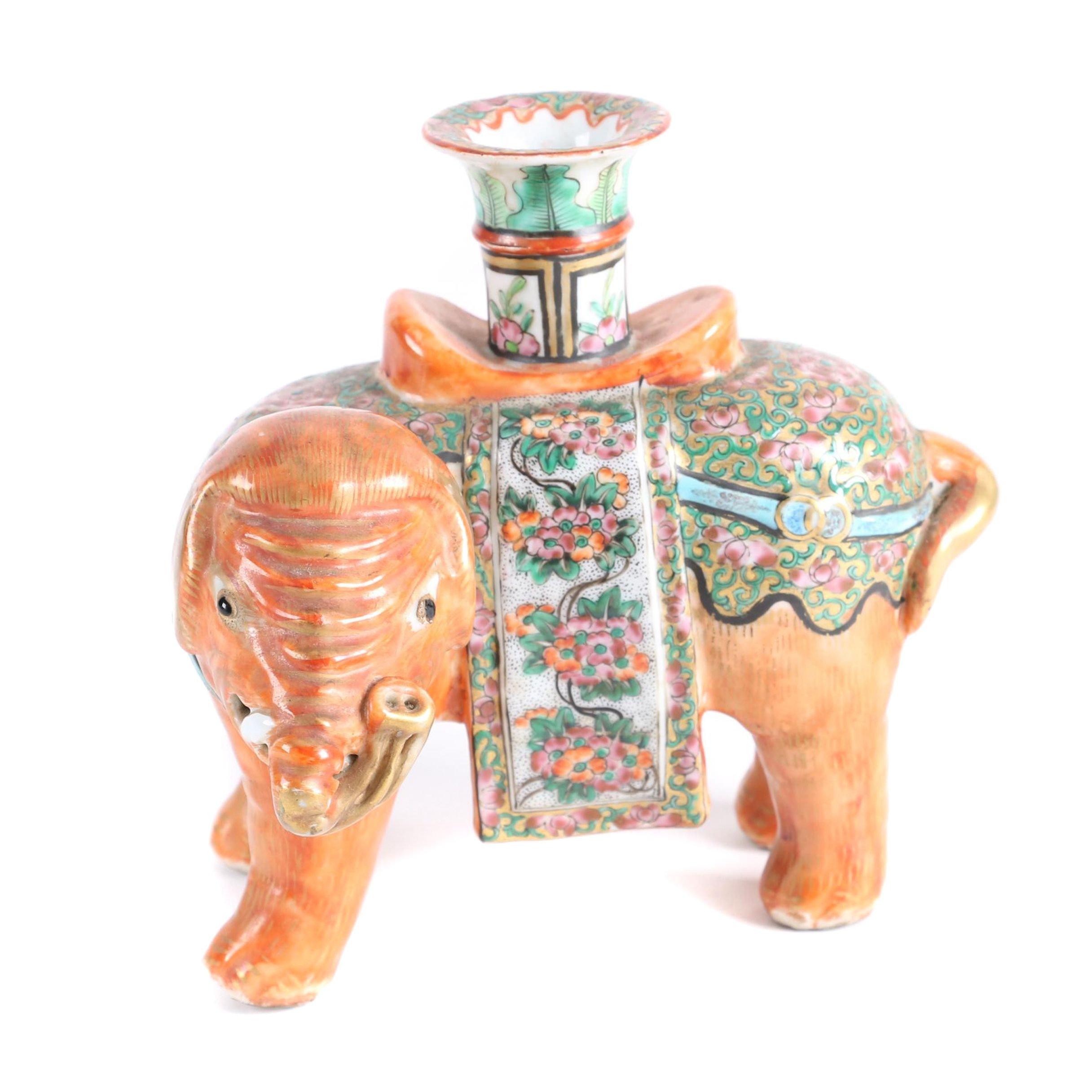 Chinese Elephant Ceramic Candleholder