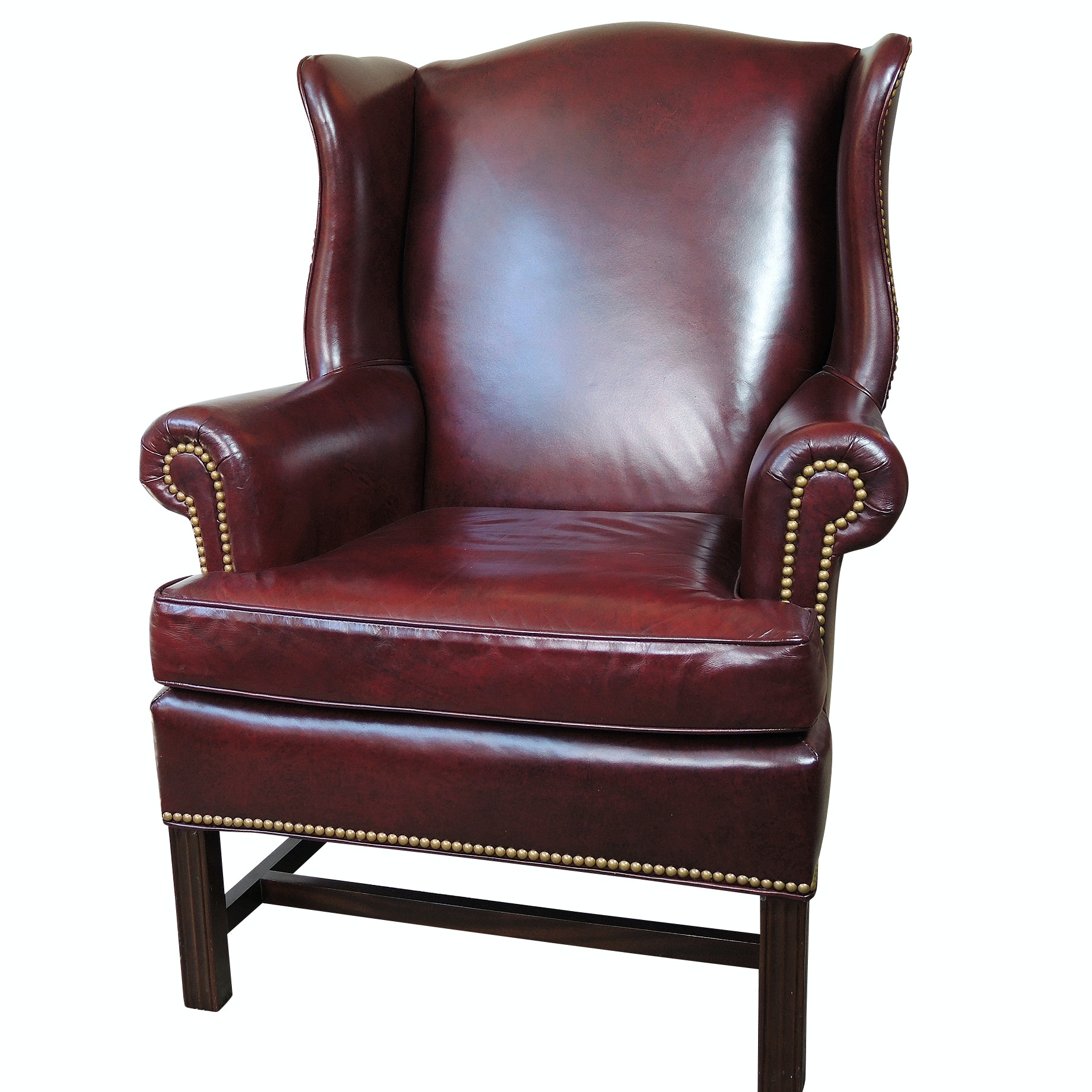 Hancock & Moore Red Leather Wing Back Armchair